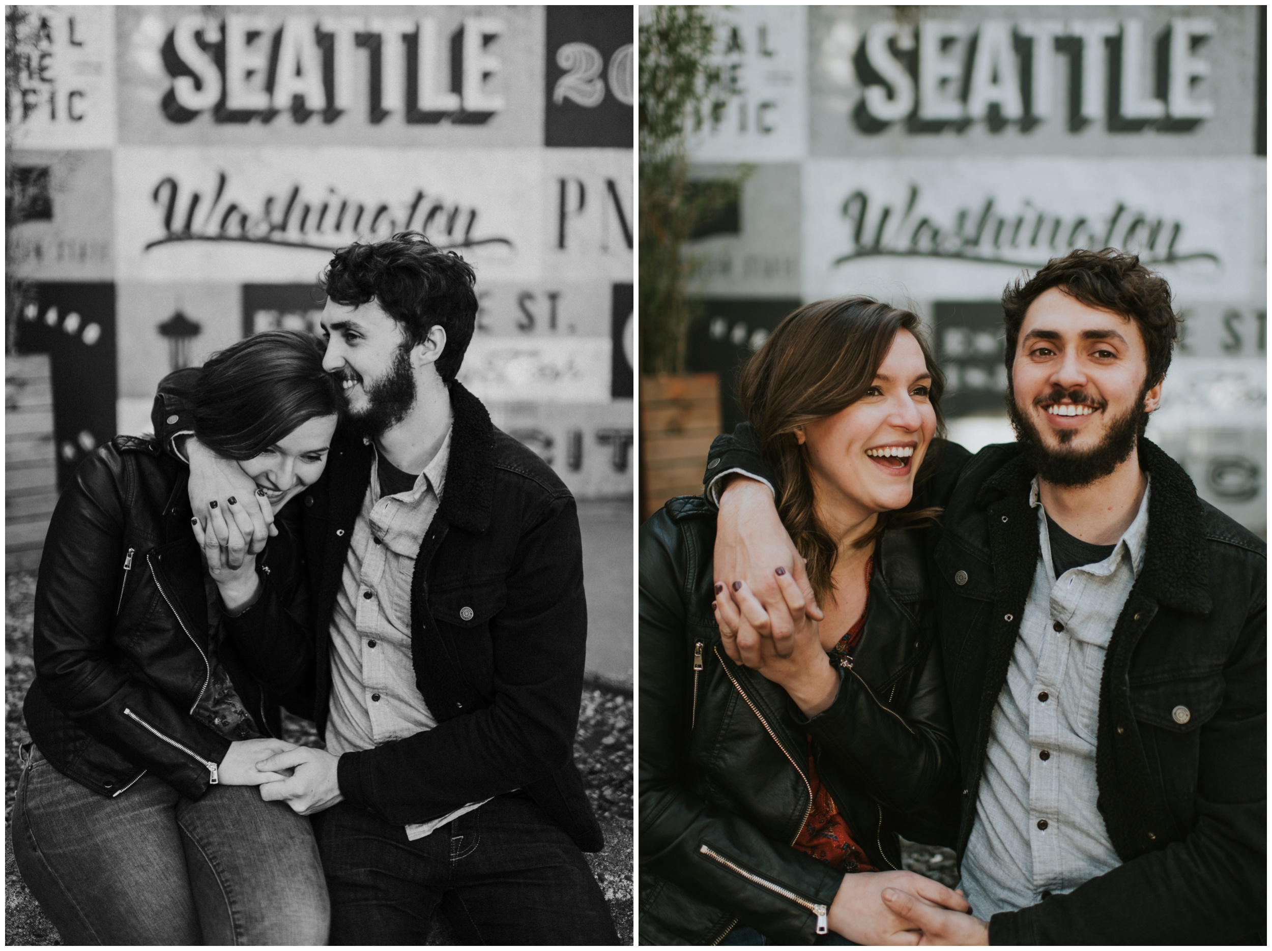 Happy couple posing for downtown engagement photos  | Seattle Engagement Photographer www.riversandroadsphotography.com