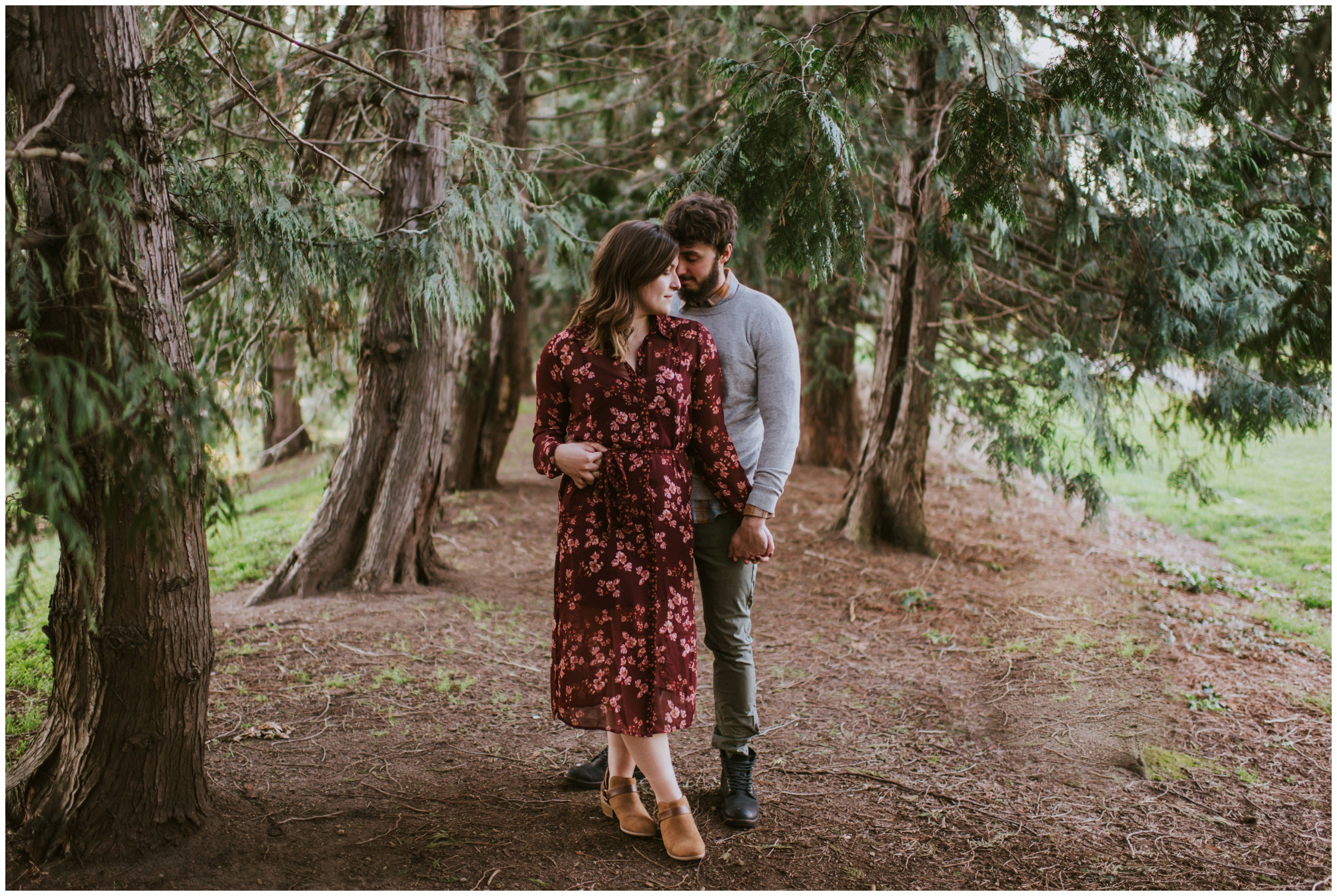 romantic couples pose in the forest | Seattle Engagement Photographer www.riversandroadsphotography.com