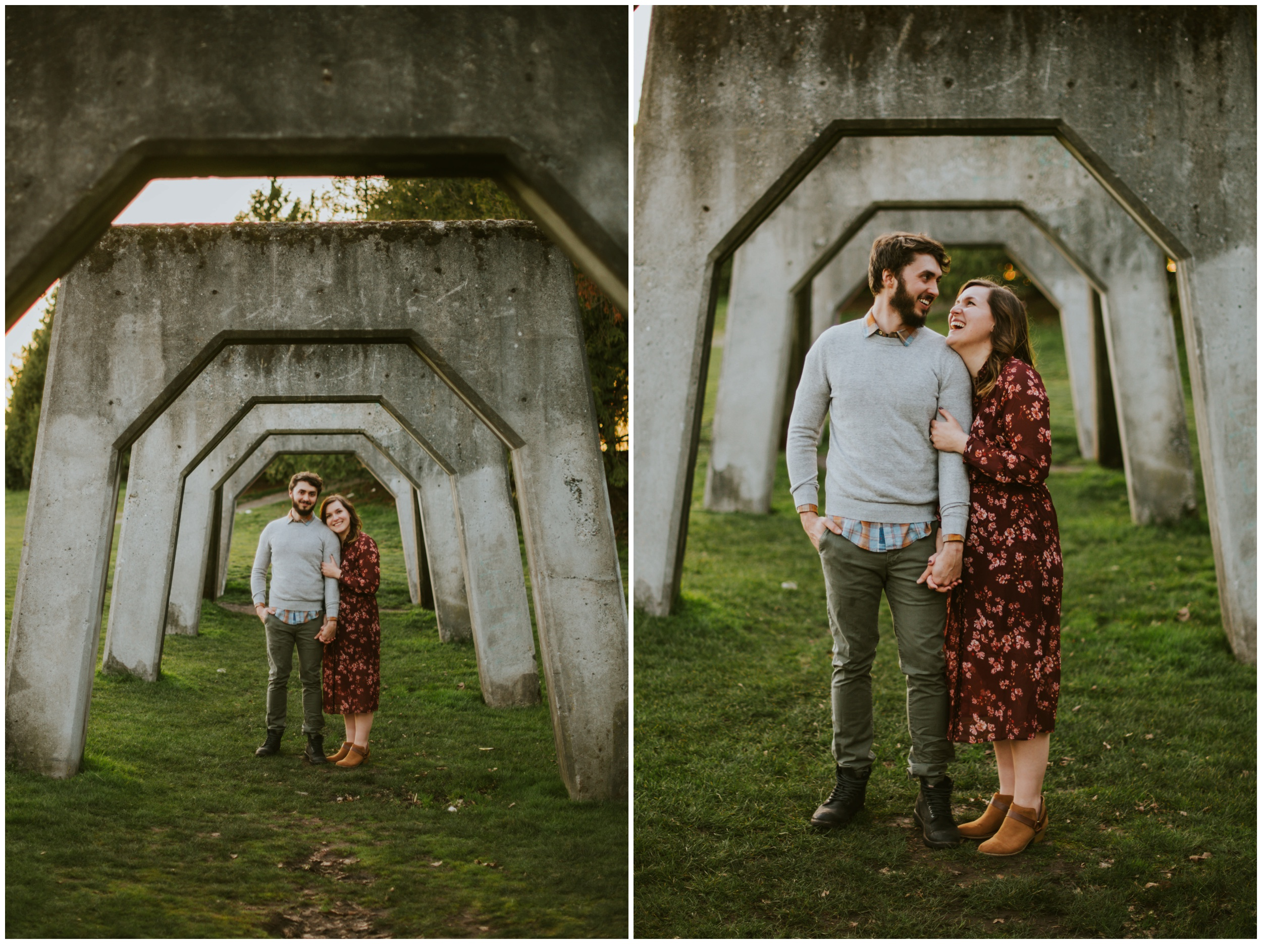 Engagement Photos in the arches at Gas Works Park | Seattle Engagement Photographer www.riversandroadsphotography.com