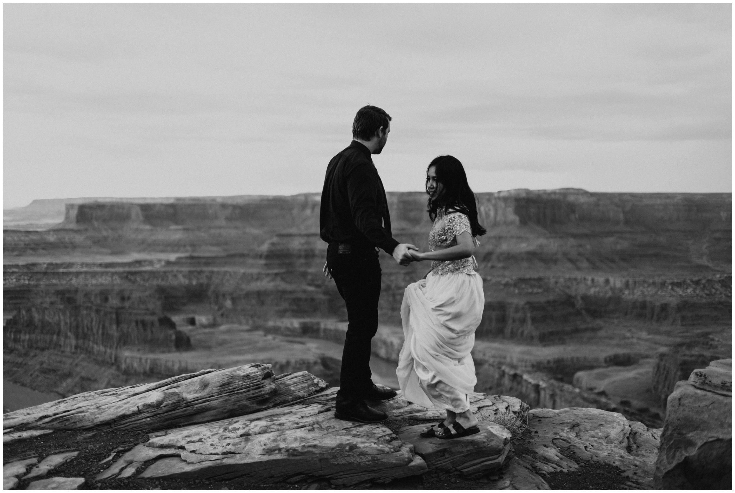 emotional portrait of couple at Dead Horse Point State Park | Elopement Photographer www.riversandroadsphotography.com