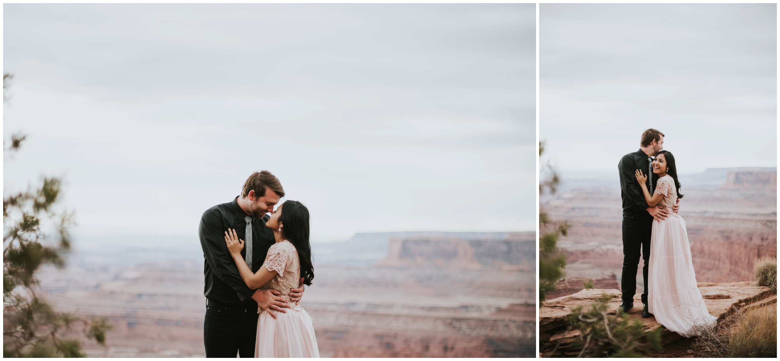 Couple cuddling at Dead Horse Point State Park Overlook | Elopement Photographer www.riversandroadsphotography.com