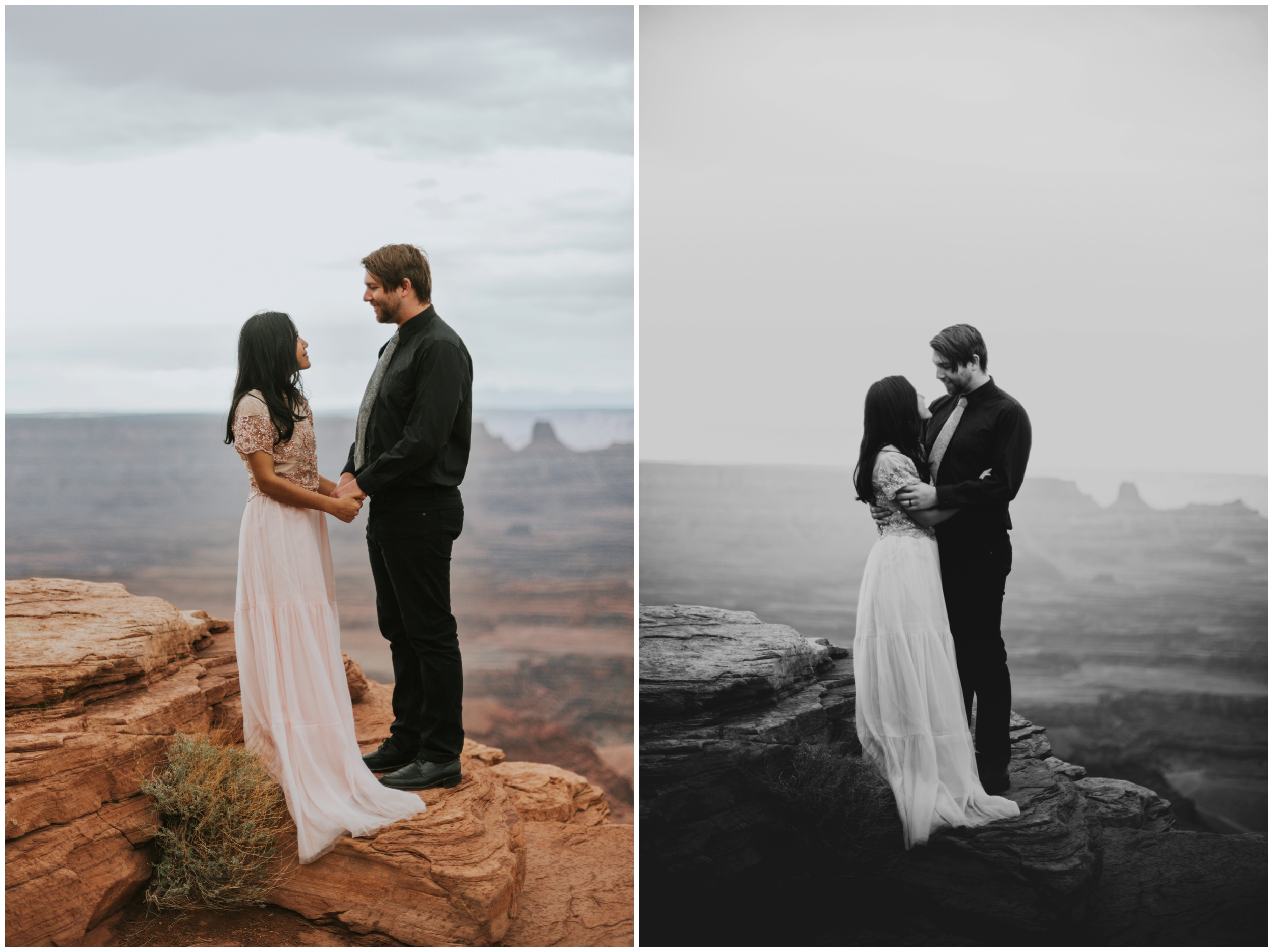 Couple standing on the edge of the world together at Dead Horse Point Overlook | Elopement Photographer www.riversandroadsphotography.com