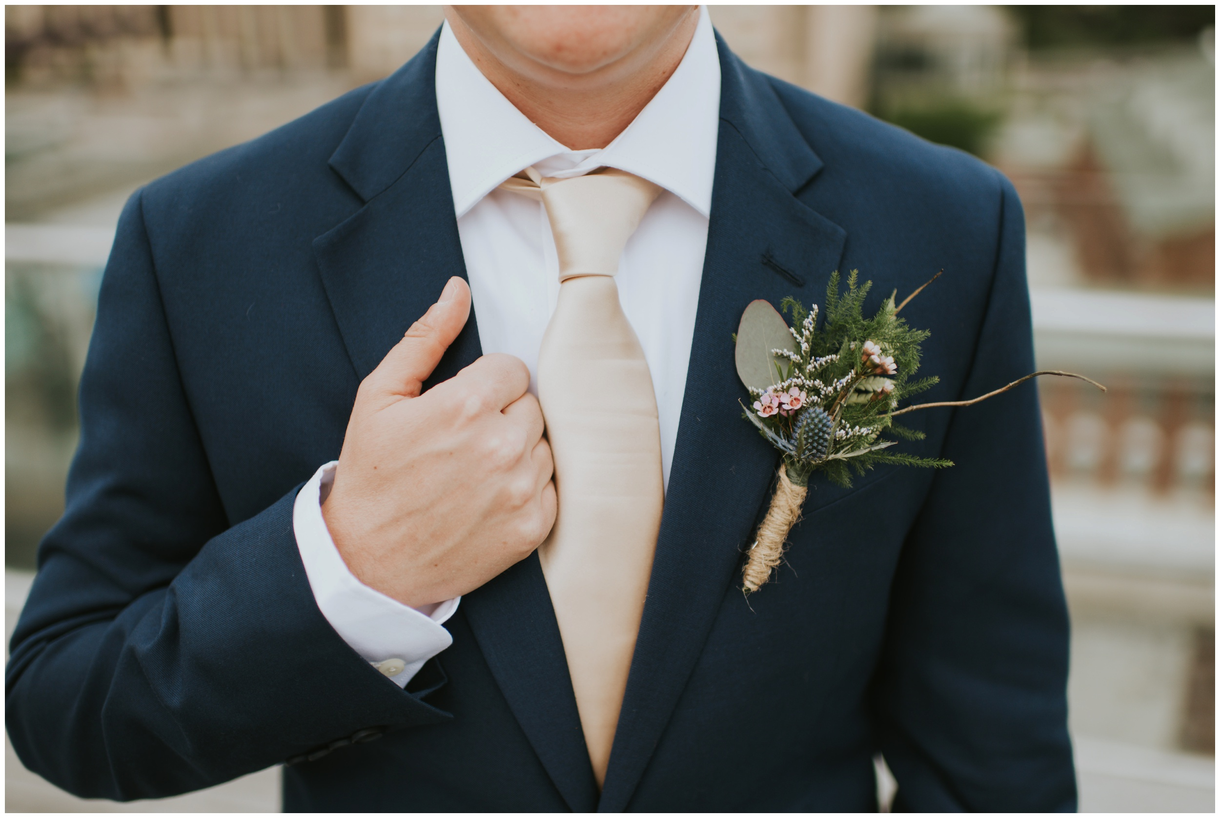 boutonniere details, rooftop wedding, downtown Roanoke Virginia | www.riversandroadsphotography.com
