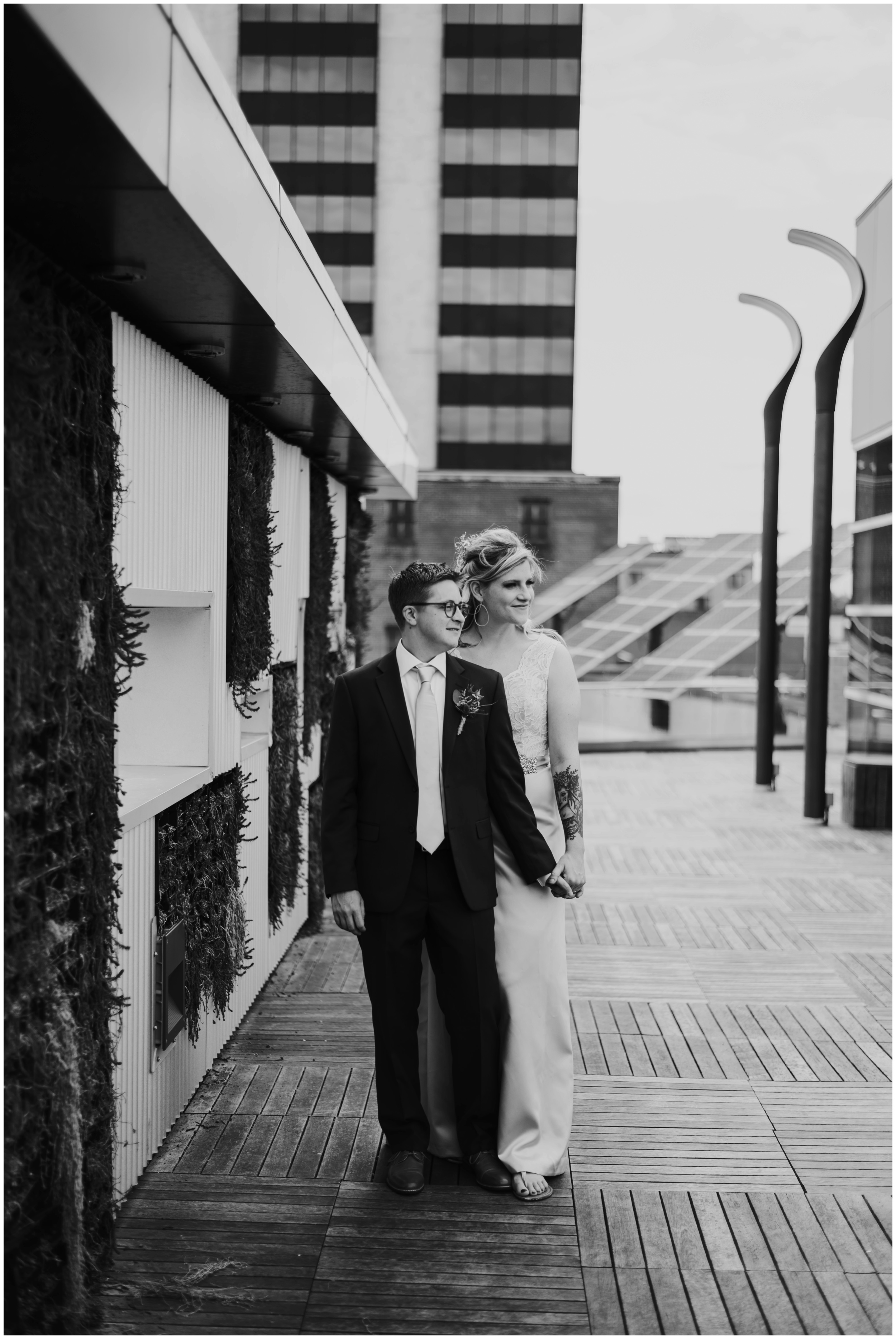 Moody black and white portrait. Center in the square wedding  | www.riversandroadsphotography.com