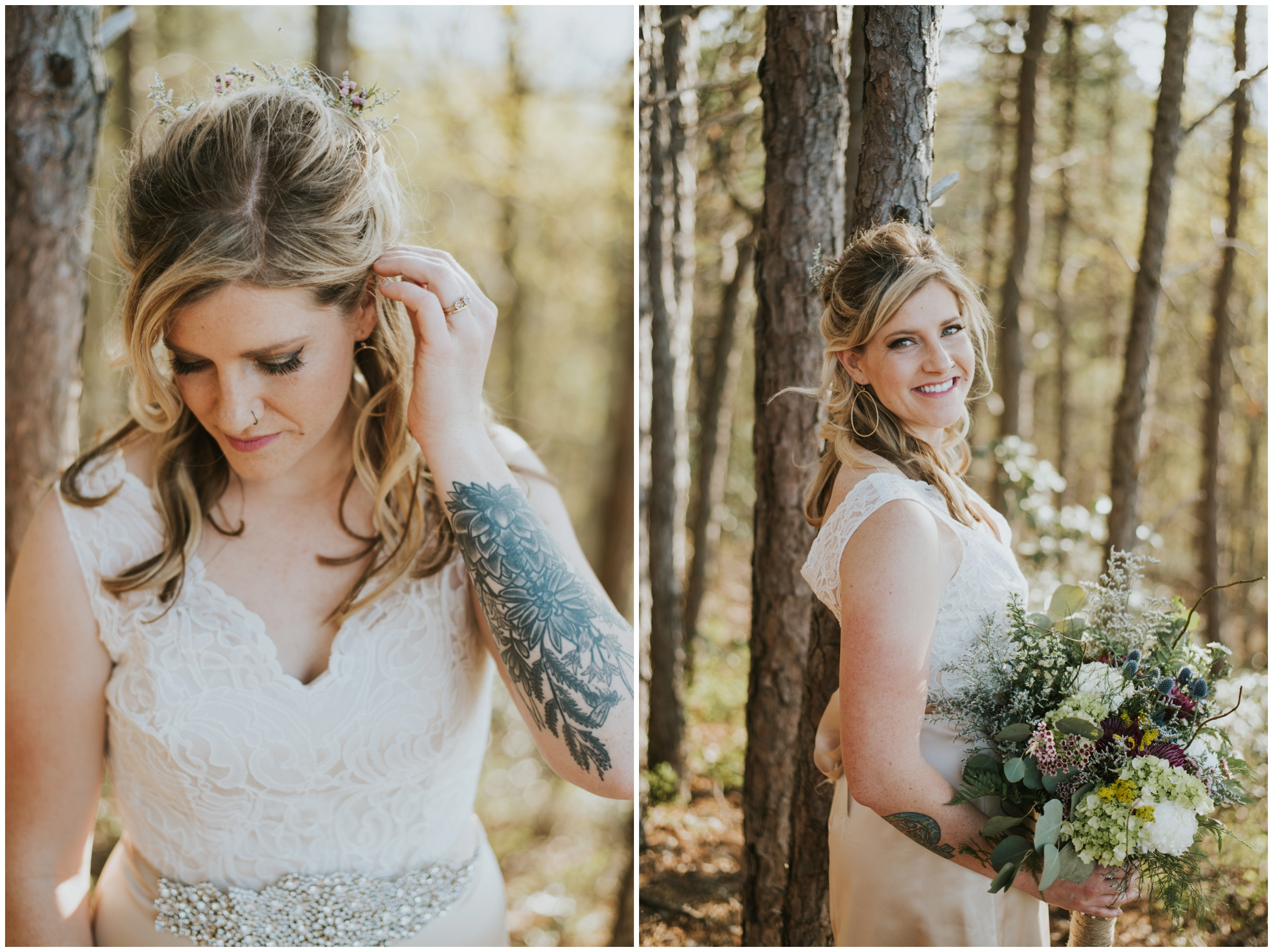 bride posing in the woods roanoke Virginia | www.riversandroadsphotography.com