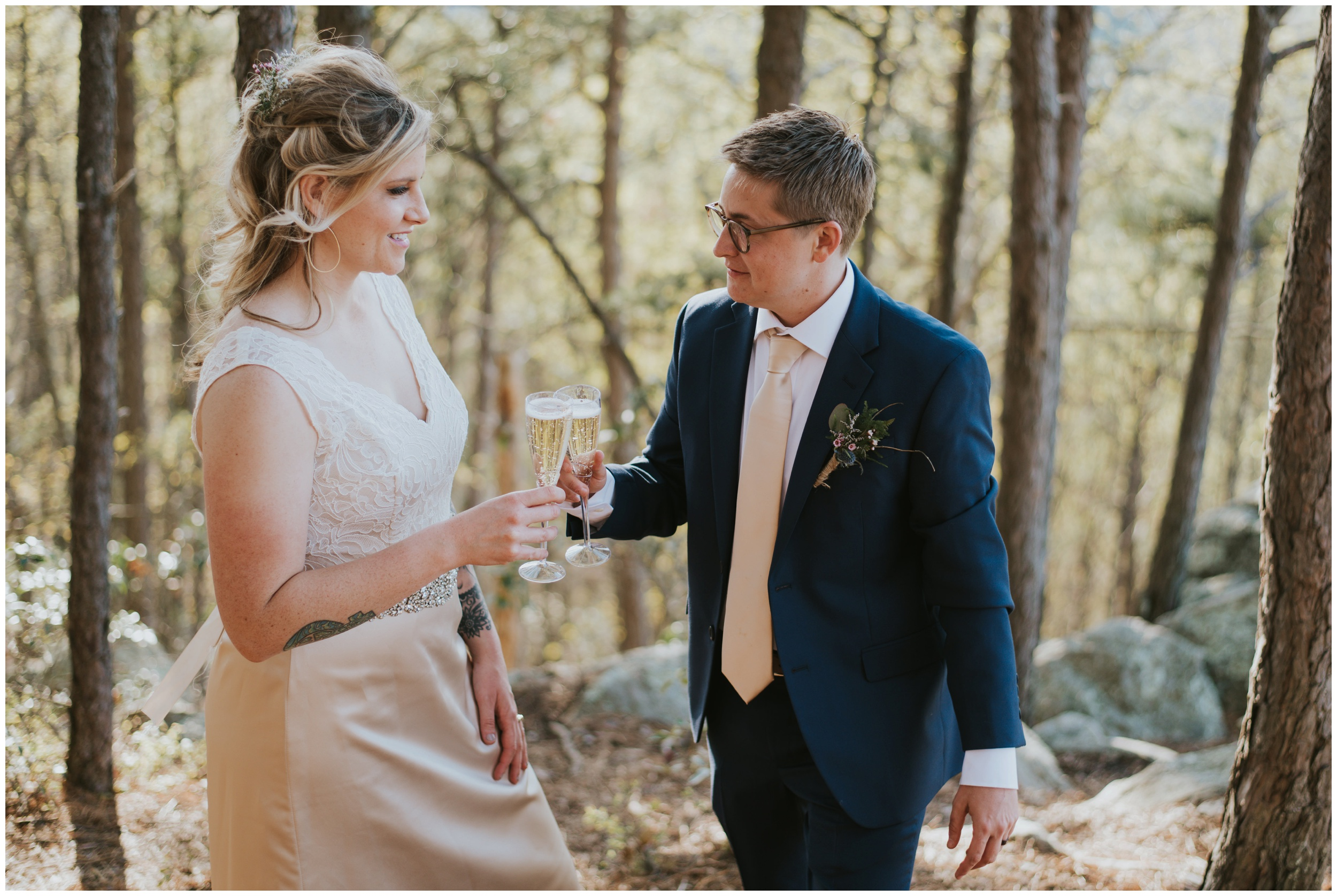 Cheers with champagne woodsy elopement  | www.riversandroadsphotography.com