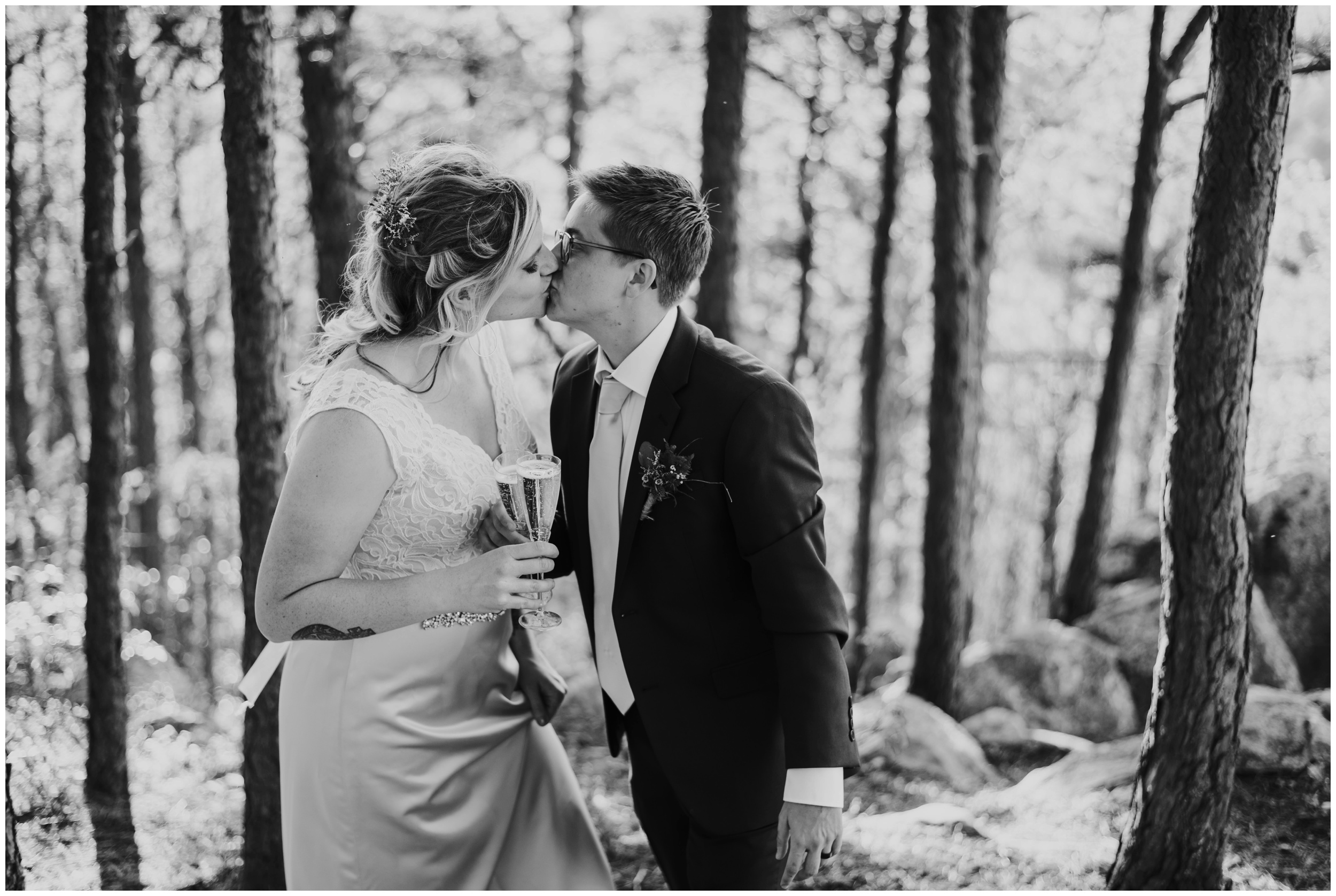 Couple kissing after eloping in the woods roanoke | www.riversandroadsphotography.com