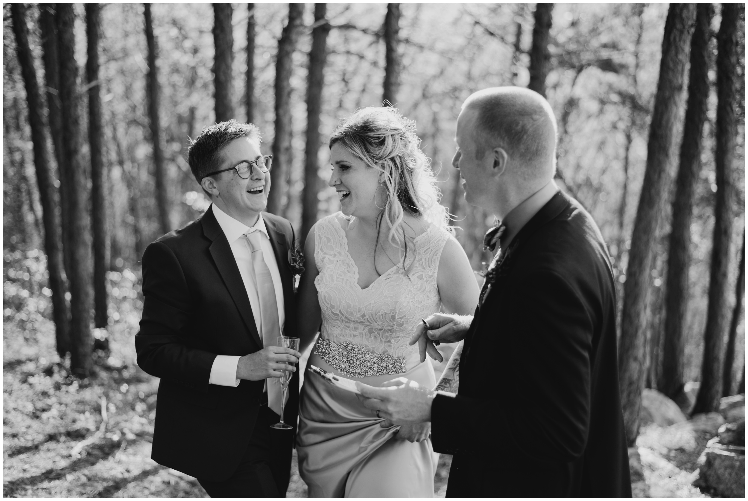 Couple laughing with officiant after eloping in roanoke Virginia  | www.riversandroadsphotography.com