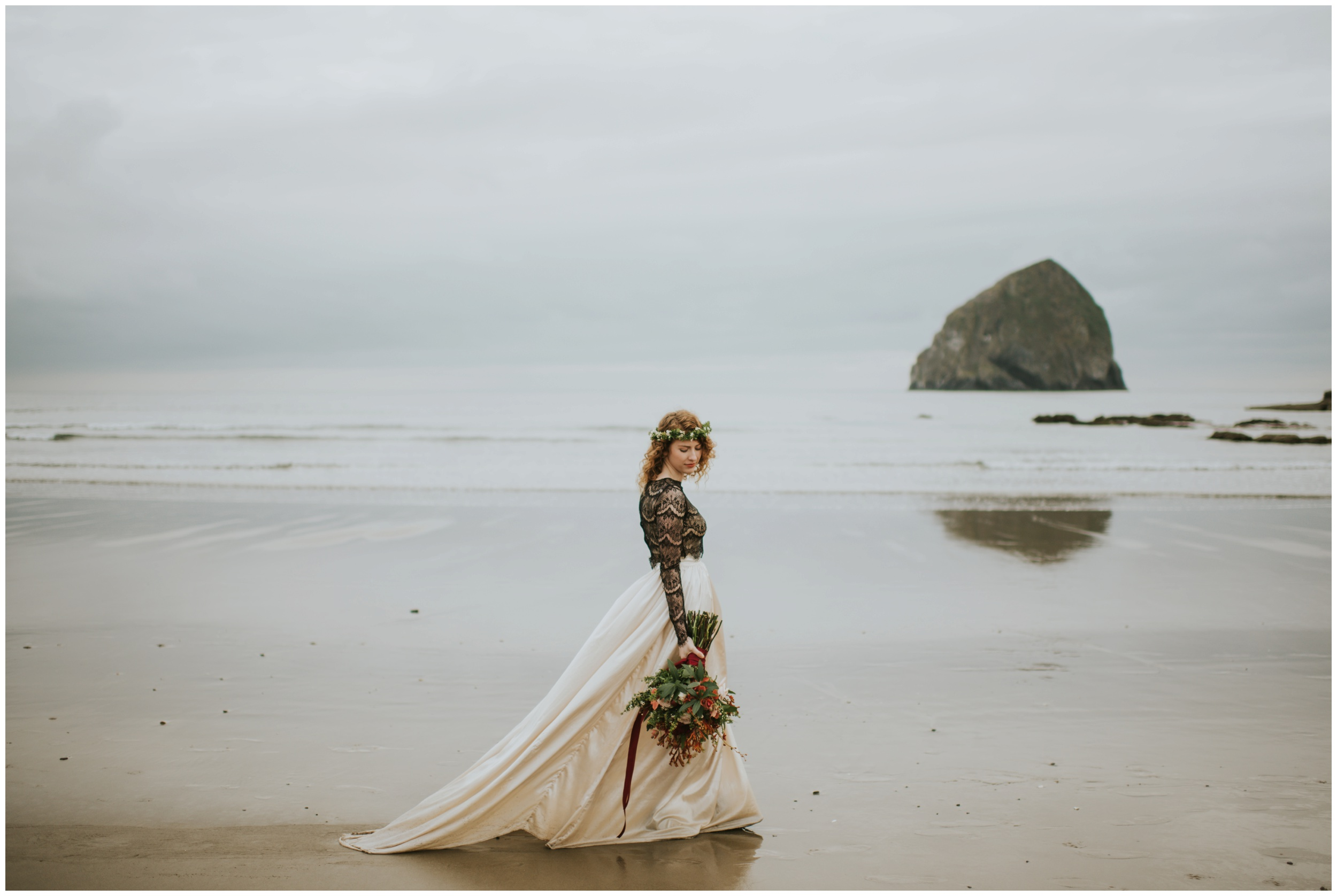 bride walking on the beach in pacific city oregon | Oregon Wedding Photographer www.riversandroadsphotography.com