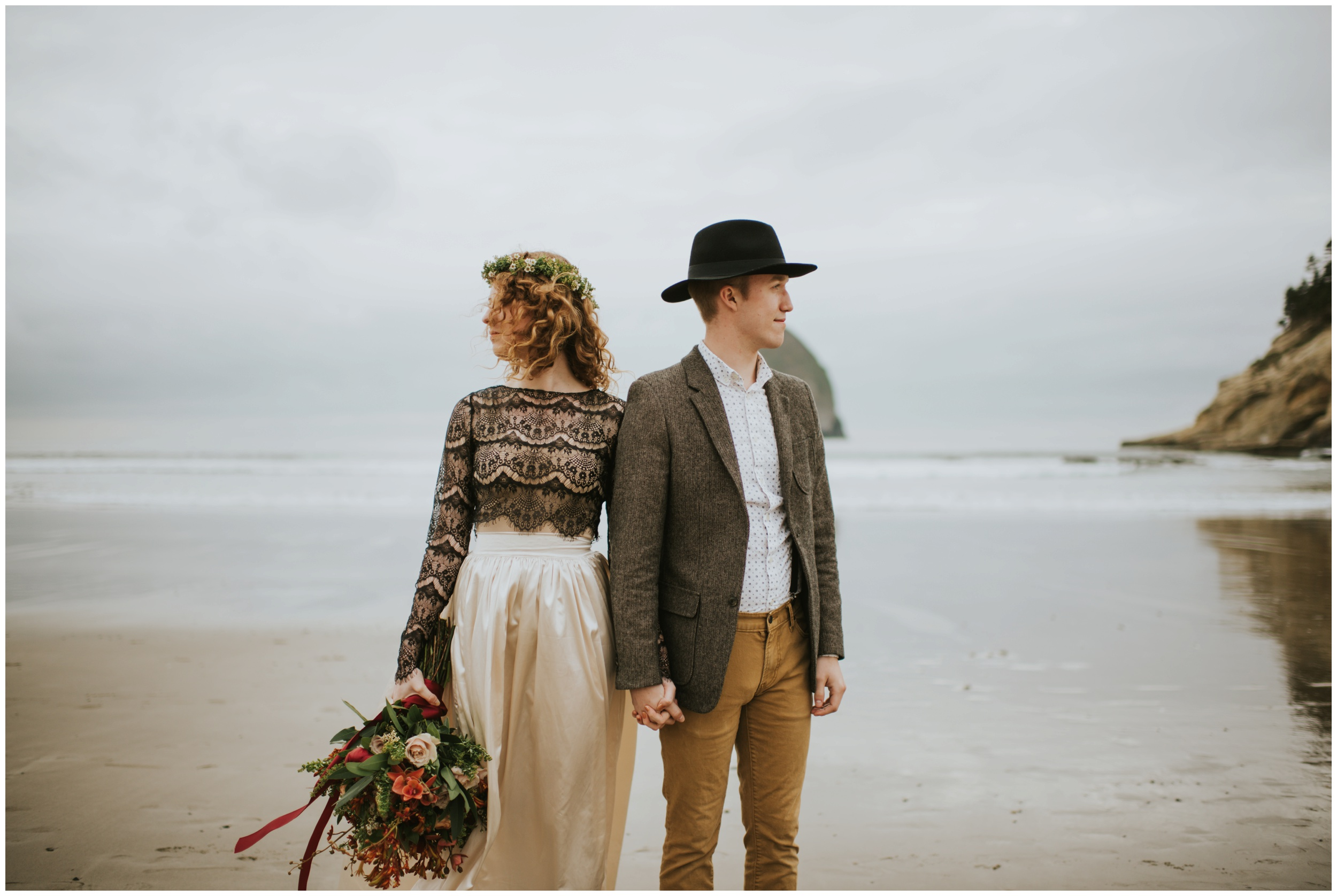 elopement on the beach  | Pacific City Wedding Photographer www.riversandroadsphotography.com