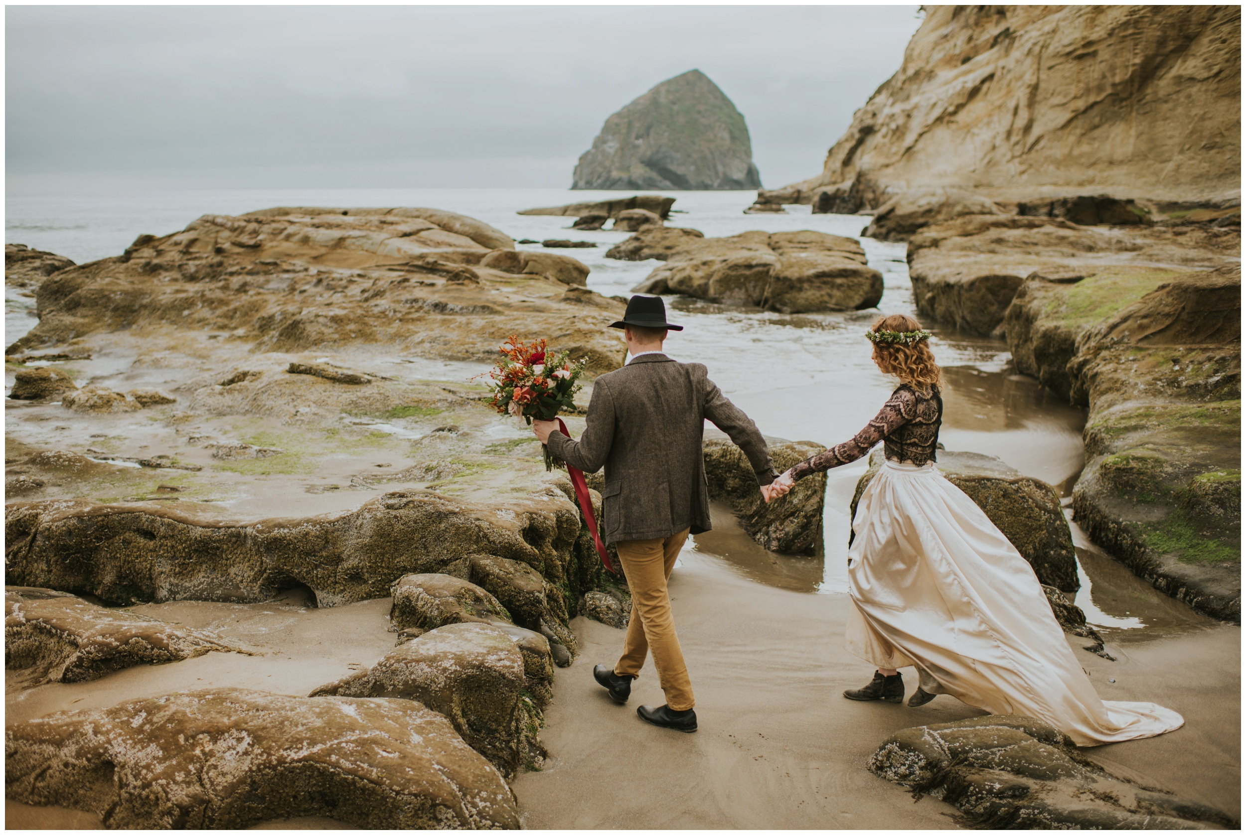 walking on the rocks at cape kiwanda  | Pacific City Wedding Photographer www.riversandroadsphotography.com