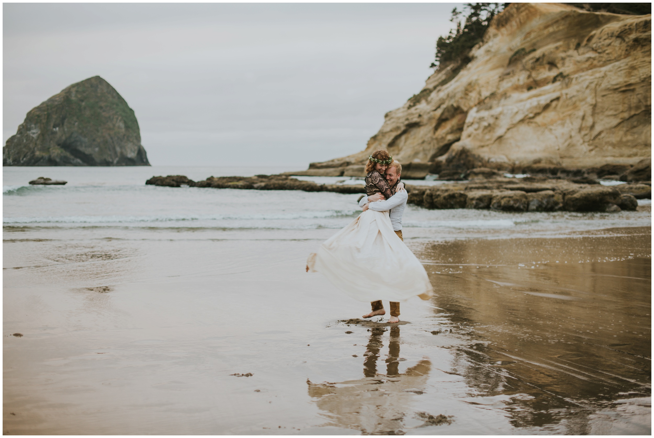 groom spinning bride at the beach  | Pacific City Wedding Photographer www.riversandroadsphotography.com