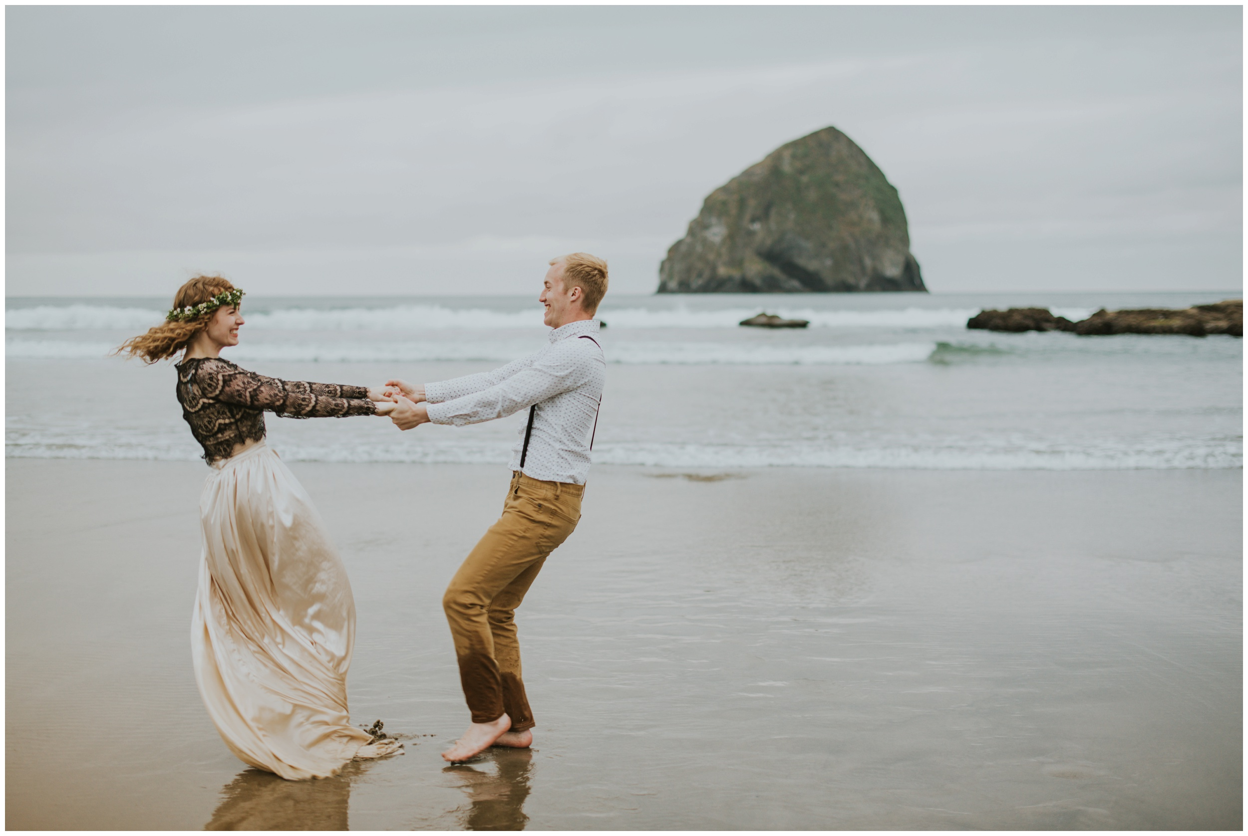bride and groom spinning on the beach  | Pacific City Wedding Photographer www.riversandroadsphotography.com