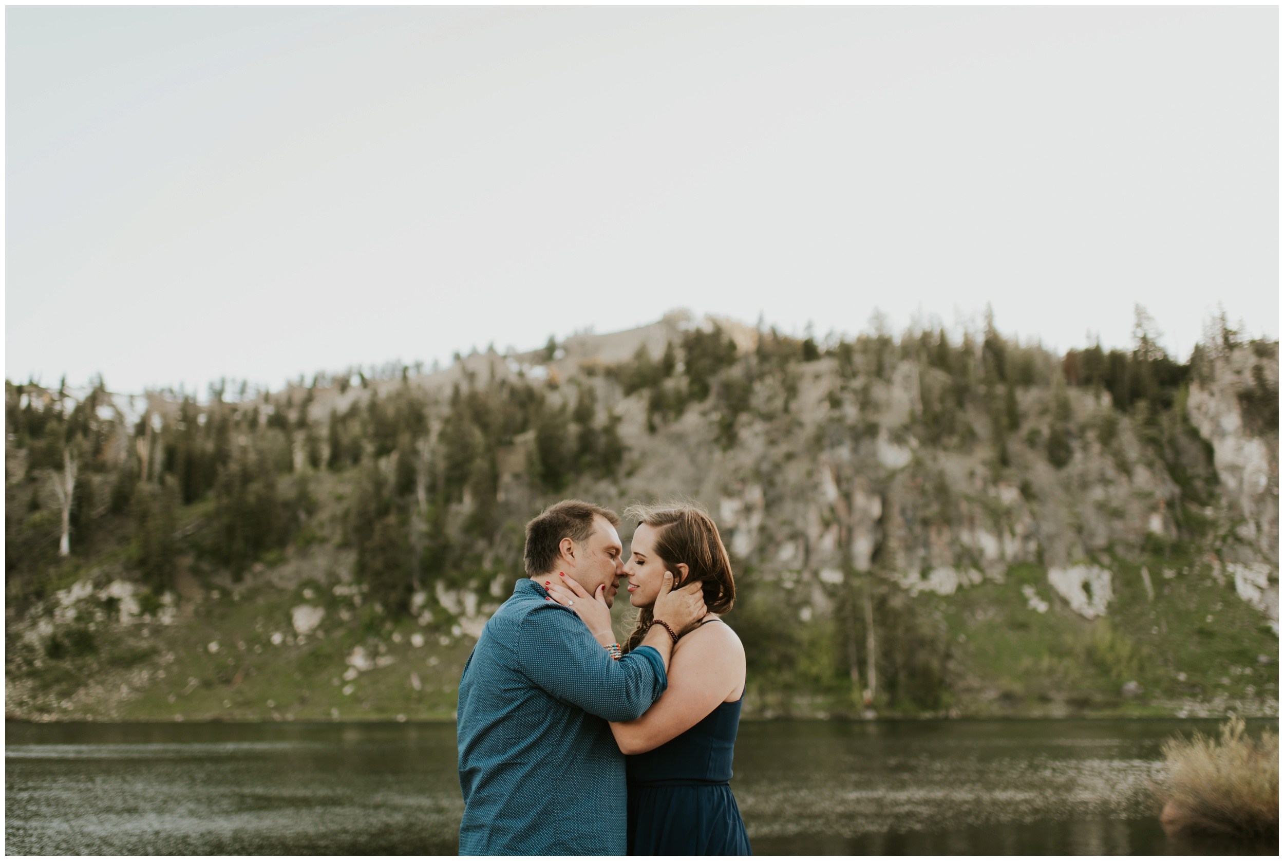 kissing at Tony grove campground Logan utah. engagement photographer.