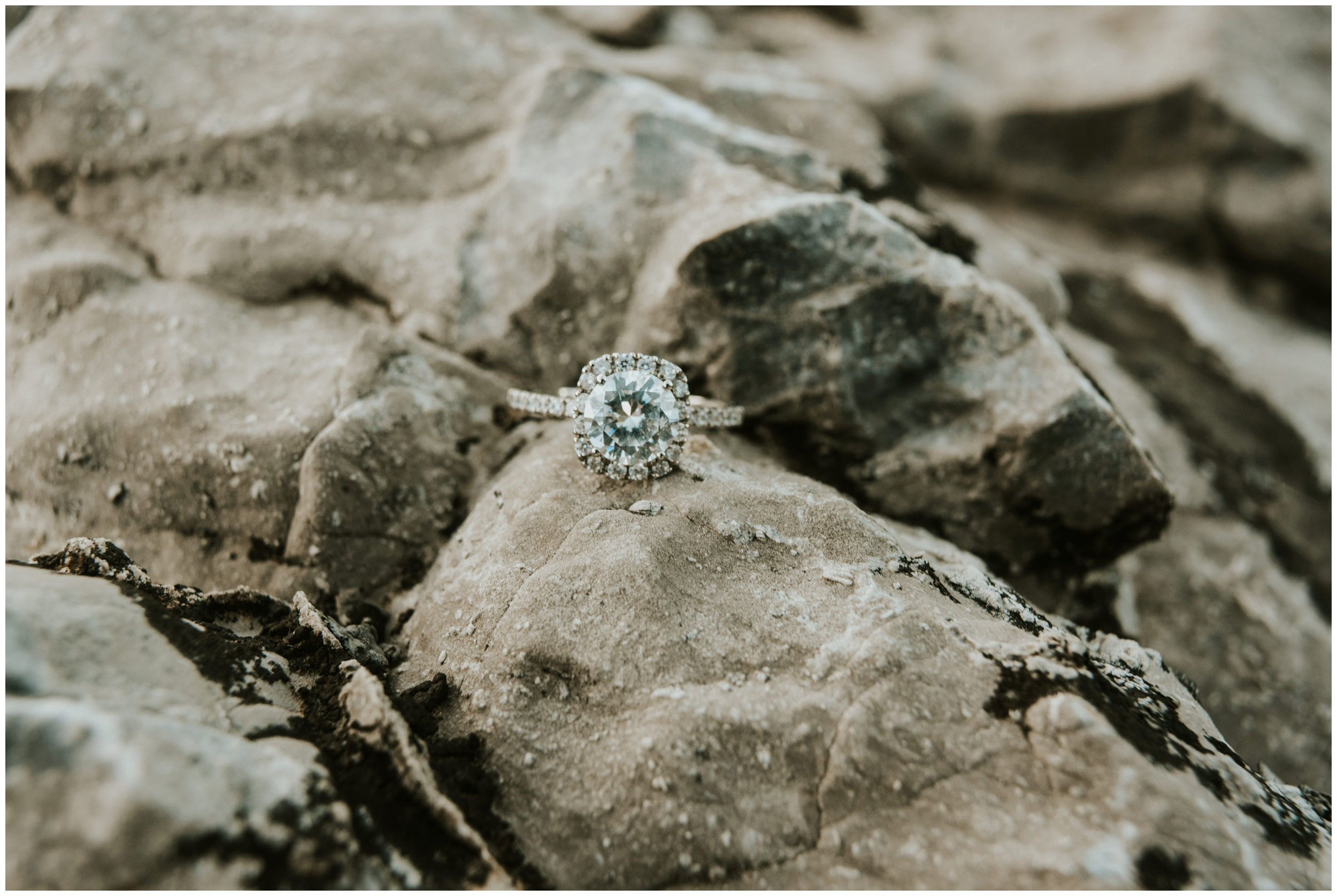 Ring photo on top of rocks at Tony Grove Campground Logan, Utah. Engagement Session. www.riversandroadsphotography.com