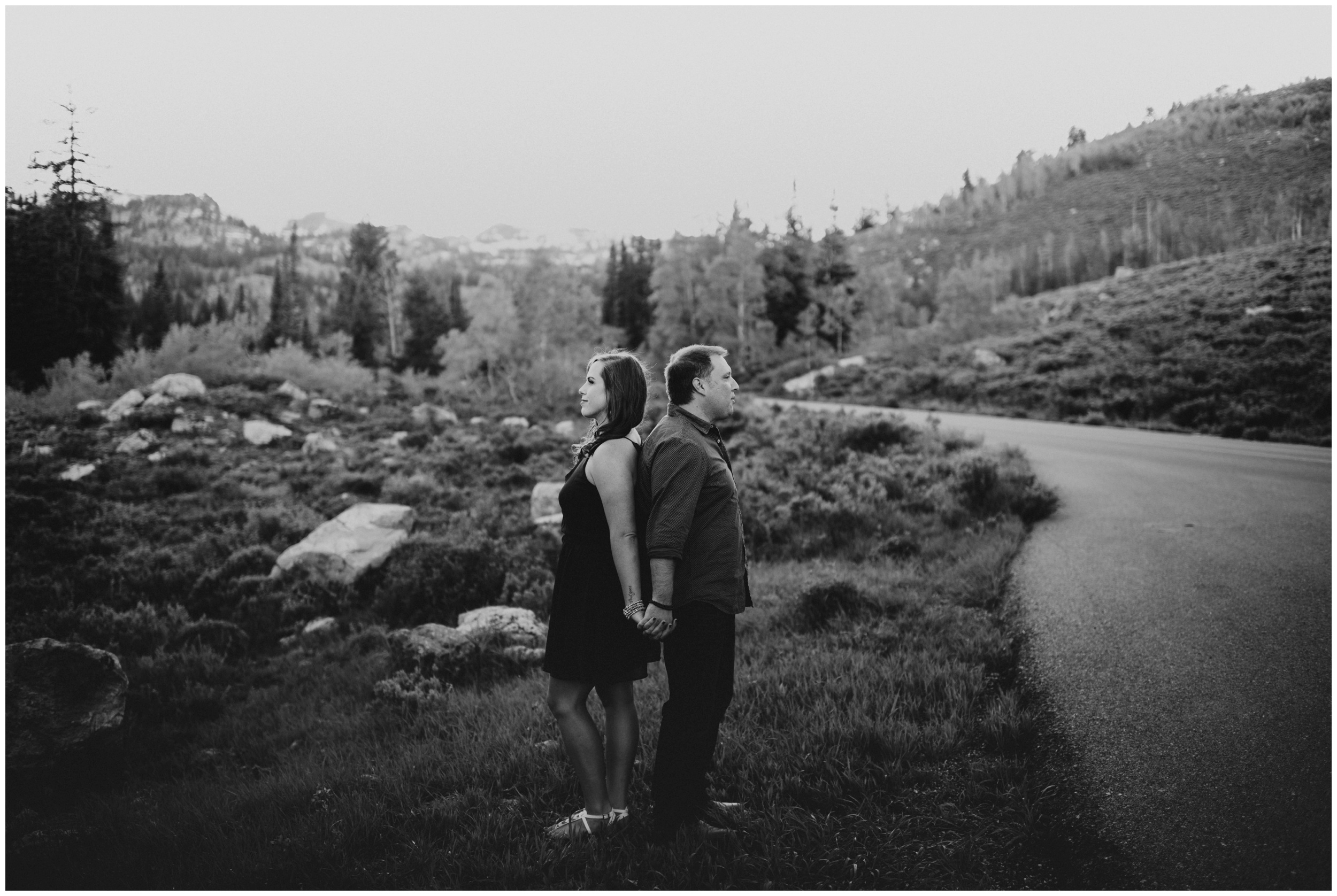 moody black and white engagement photographer Logan utah. engagement photography.