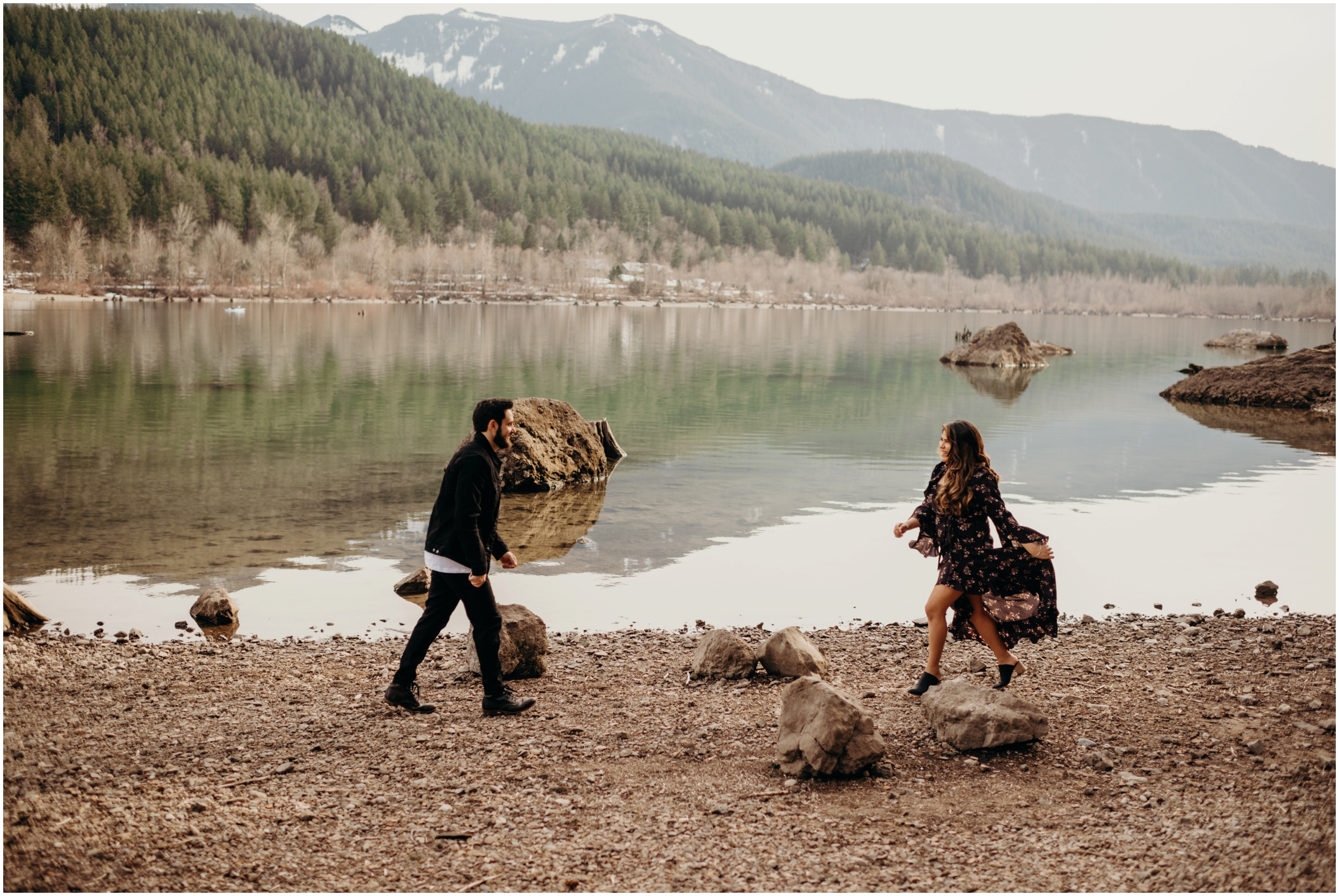 Couple running at Rattlesnake Lake, WA   Seattle Wedding Photographer www.riversandroadsphotography.com