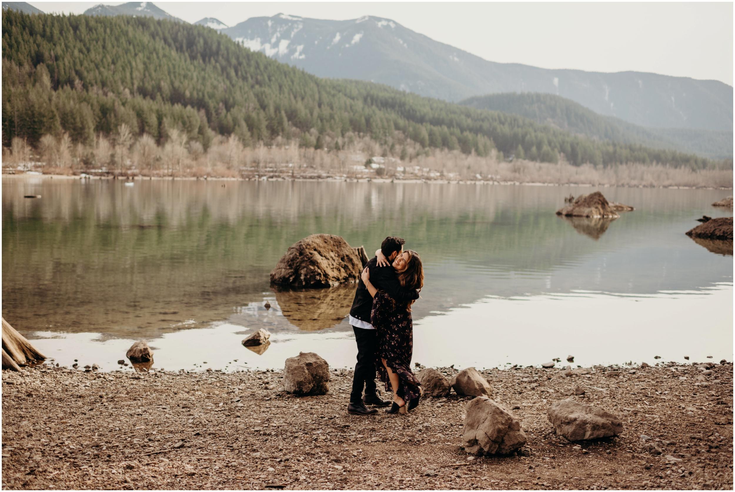 Engaged at Rattlesnake Lake, WA   Seattle Wedding Photographer www.riversandroadsphotography.com