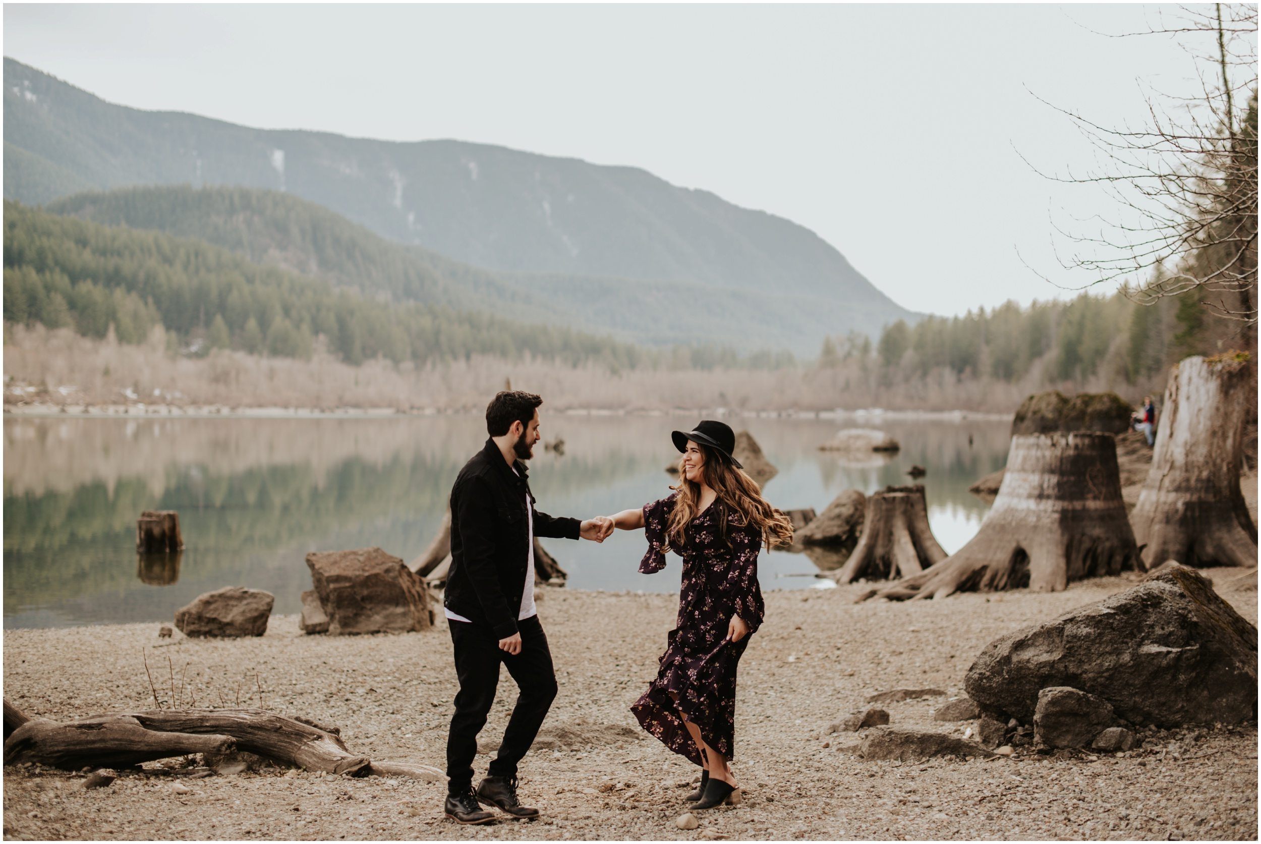 Dancing engagement photos Rattlesnake Lake, WA | Seattle Wedding Photographer www.riversandroadsphotography.com