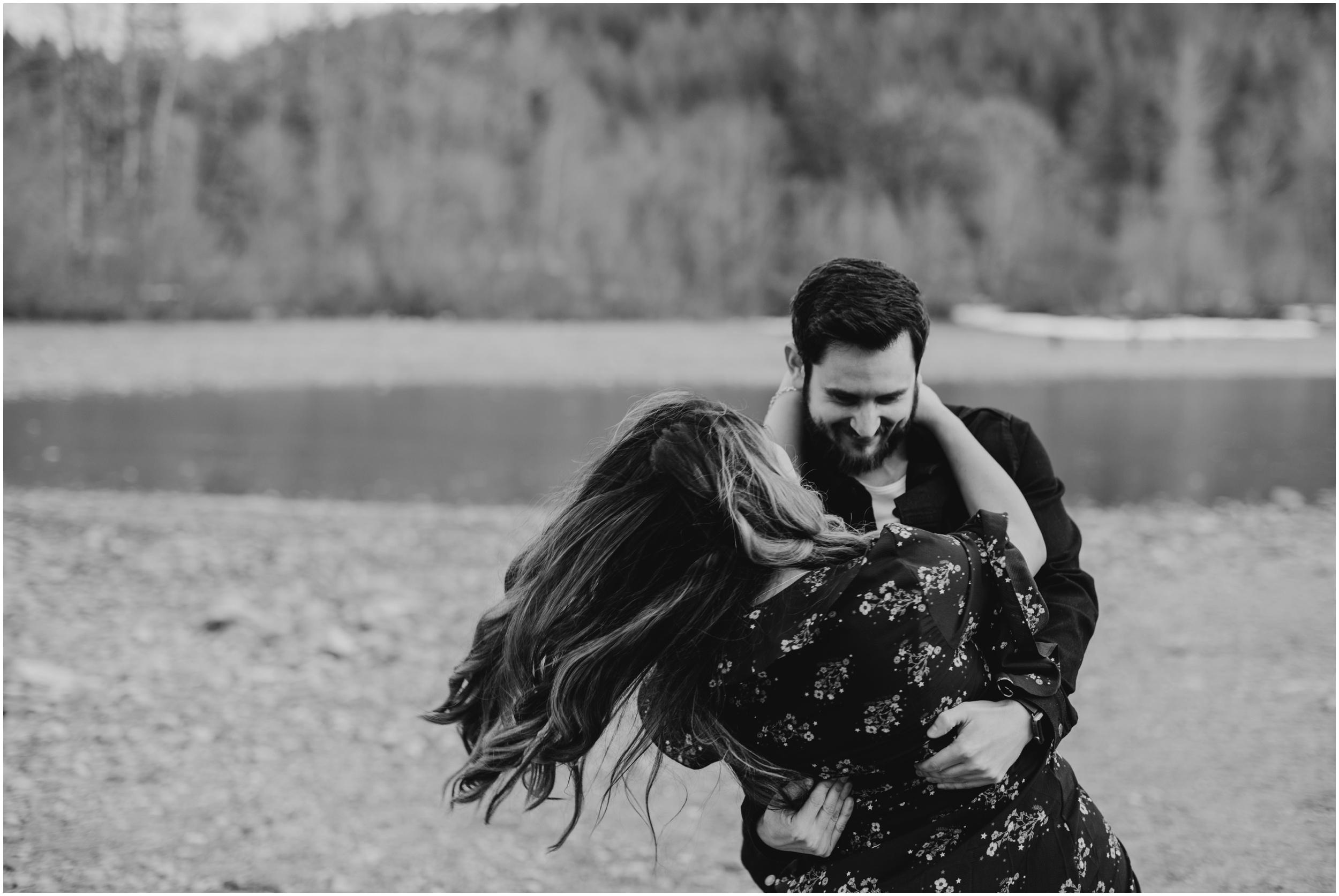 couple dancing Rattlesnake Lake, WA   Seattle Wedding Photographer www.riversandroadsphotography.com