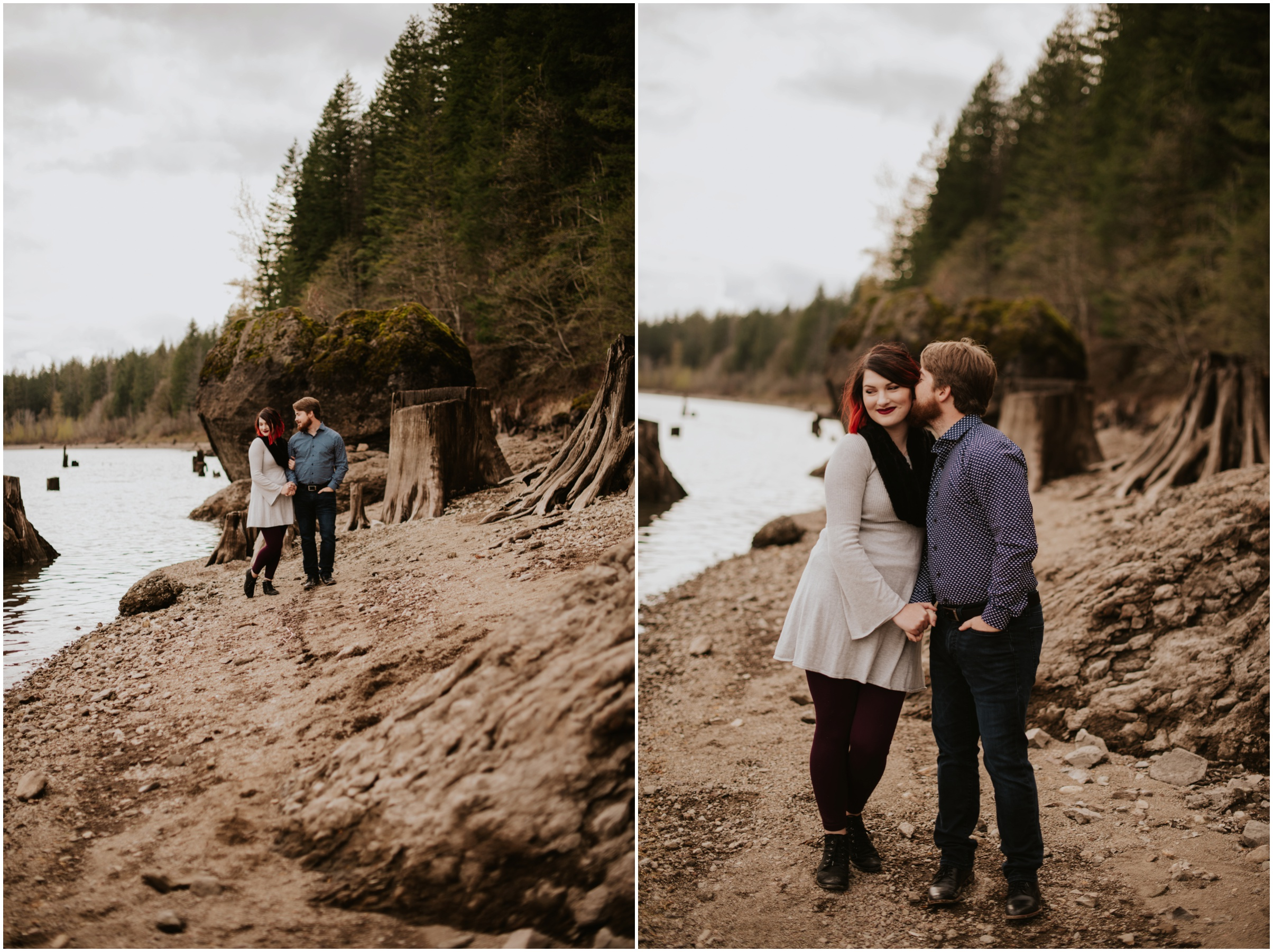 couple walking on the beach Rattlesnake Lake, WA | Seattle Wedding Photographer www.riversandroadsphotography.com