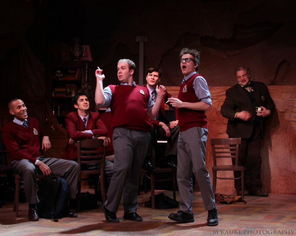 """""""Timms"""" in  The History Boys  (with, L-R, Michael Gregory, Gen Parton Shin, Cory Kosel,Josh Gulotta, and JD Luse)"""