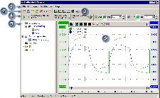 Oscilloscope Operations Software Basics   1. Main Menu 2. File toolbar 3. Quick functions toolbar 4. Instrument toolbar 5. Object tree 6. Graph
