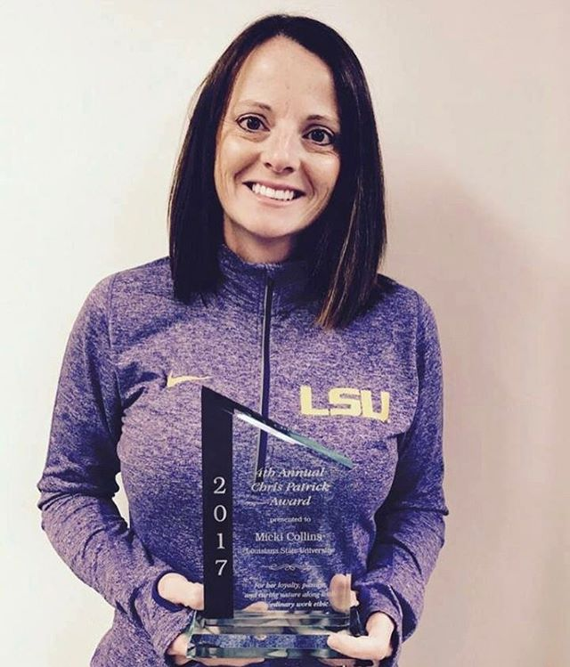 Congratulations to Micki Sandy Collins who received the Chris Parick award at the SEC meeting. It is awarded to an AT who has loyalty, passion and a caring nature with an extraordinary work ethic. We are so lucky to have Micki as part of our staff and are thrilled that she is being recognized for her hard work! GEAUX Tigers.