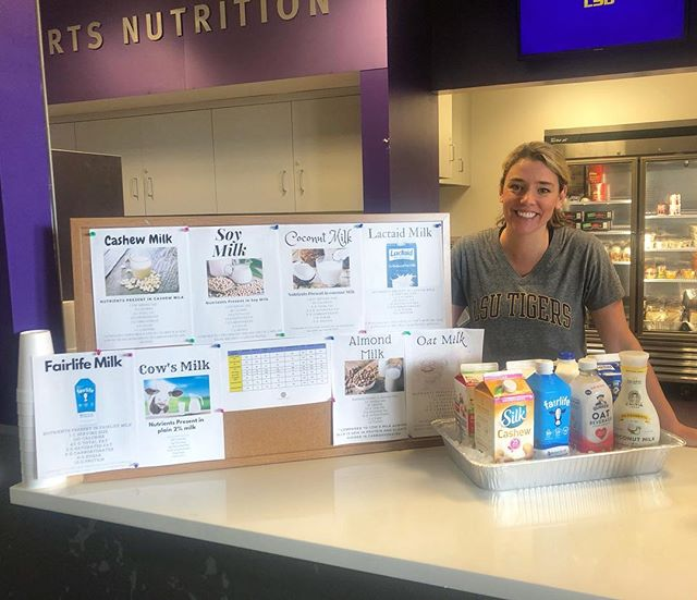 Got Milk? 🥛 ... Stop by the Cox Academic Center fueling station to sample & learn about milk and various dairy alternatives from our amazing intern, Anne!
