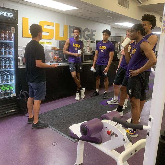 That's a wrap! Last nutrition team talk with @lsubasketball for the summer. Big shout out to our intern Austin, who has been such a help fueling & educating the team! 🏀