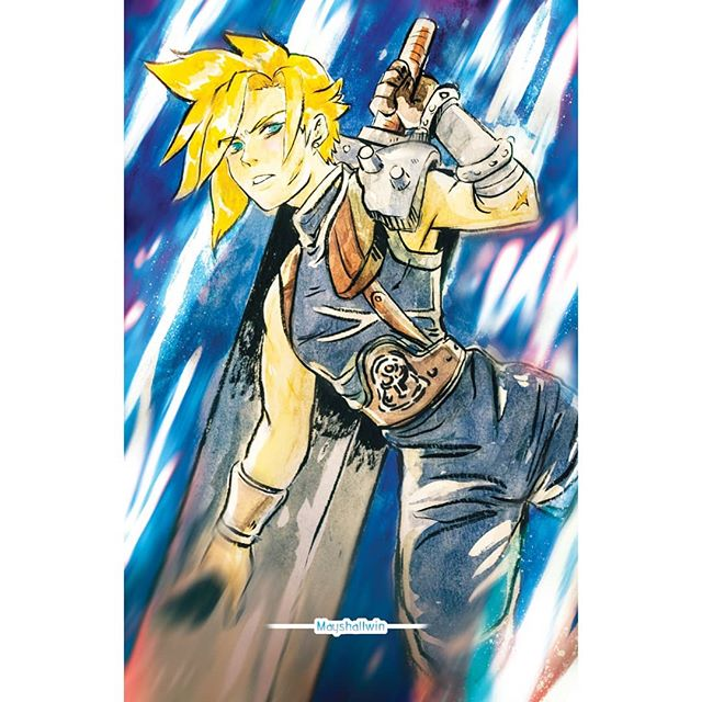I made this with watercolor then used photoshop to fix . . . #smash #smashbros #smashbrosultimate #watercolor #photoshop #fanart #cloudstrife #ffvii #finalfantasyvii #ff7 #game #squareenix #gaming #prints #art