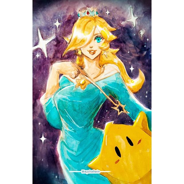 I made #rosalina from #SmashUltimate hope you like!! Also, this is watercolor then I fixed it via #photoshop . . . #art #watercolor #fanart #nintendo #cutiepie #games #gaming #digitalart
