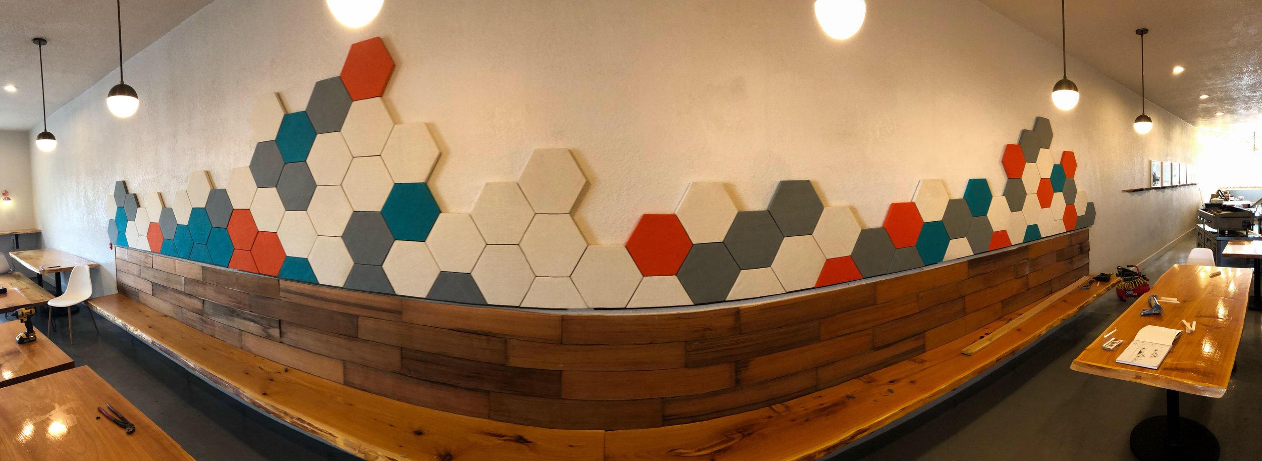 A sneak peek of the new wall art inside Brunch 101.