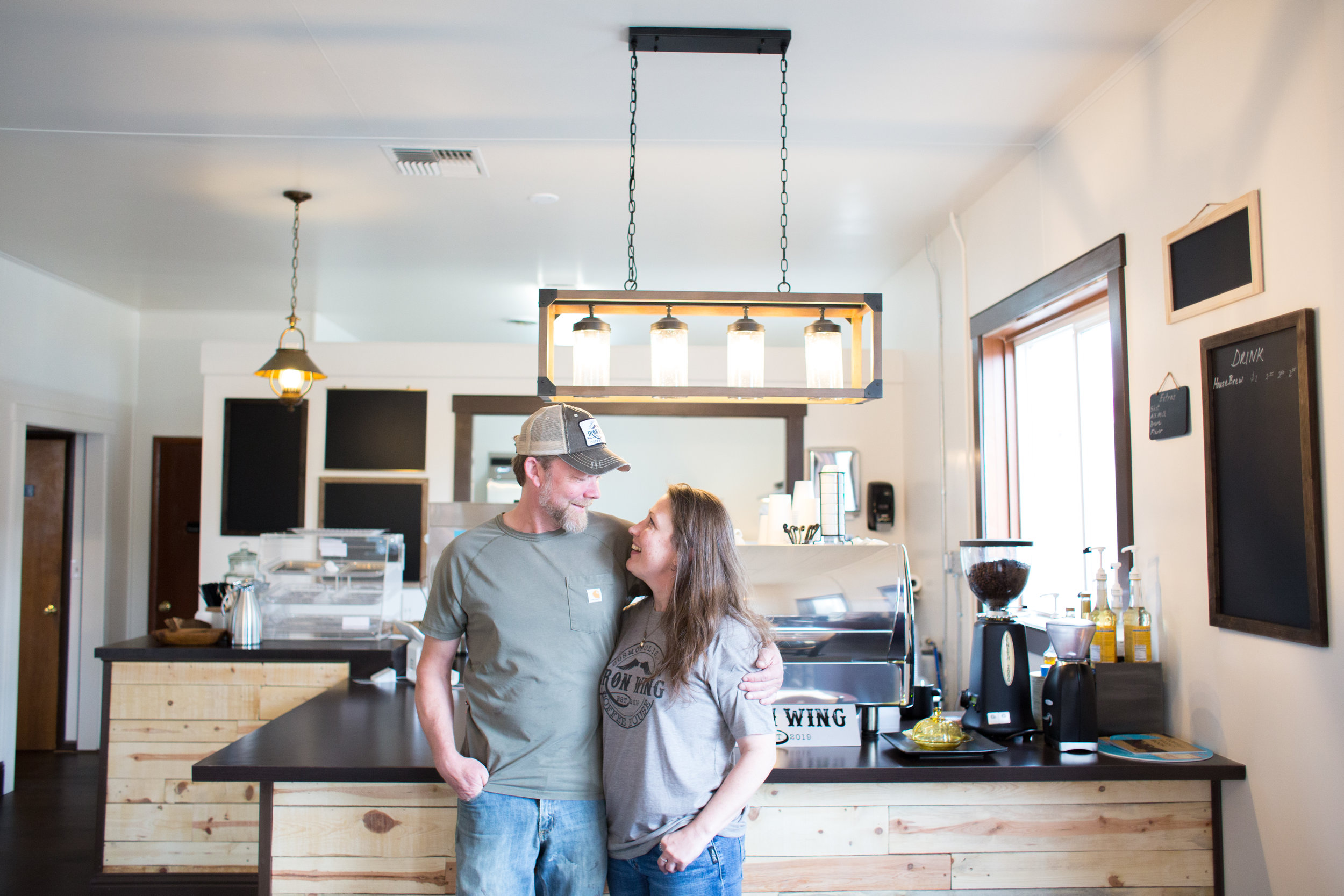 Acacia and Caleb enjoying their shop finally coming together!