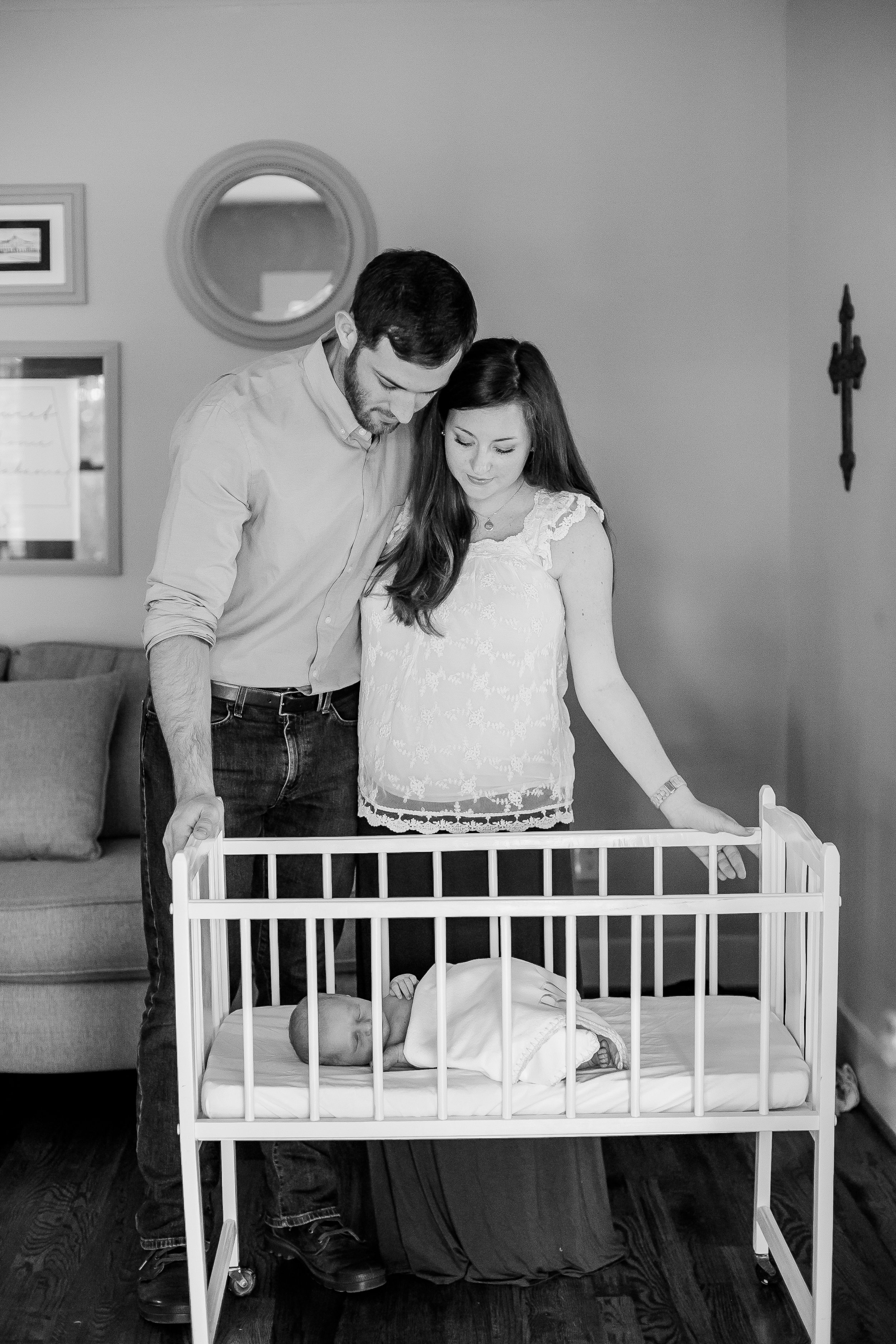 Becoming a family of three--this cradle belonged to Bradley's great grandmother. She slept in it as a baby, as did his mom, as did Bradley, and now this generation of babes. So special.