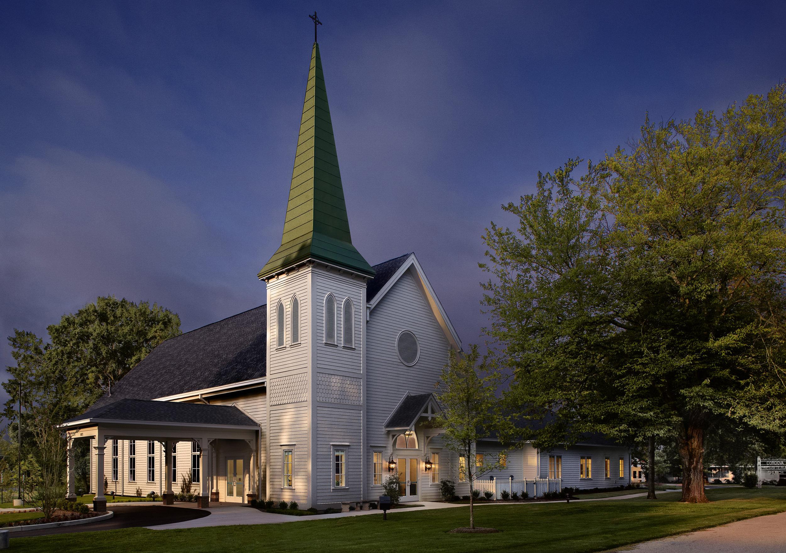 1 - Cordova Presbyterian Church - Sunrise Exterior - 9 in wide @ 600 dpi - credit Jeffrey Jacobs Photography.jpg