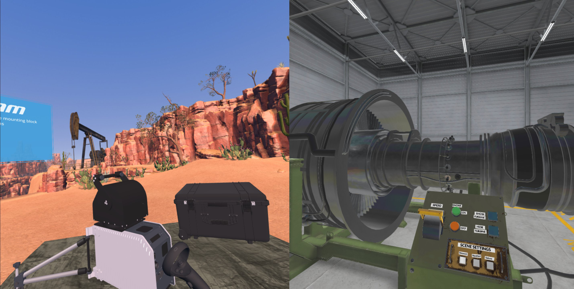 Even though Oculus Quest has limited performance, it is possible to achieve a high visual fidelity. On the left you can see an image from Kanda's Satcom Explorer VR experience, and on the right, you can see an image from Kanda's Turbine Experience VR. Both screenshots are taken from inside an Oculus Quest.