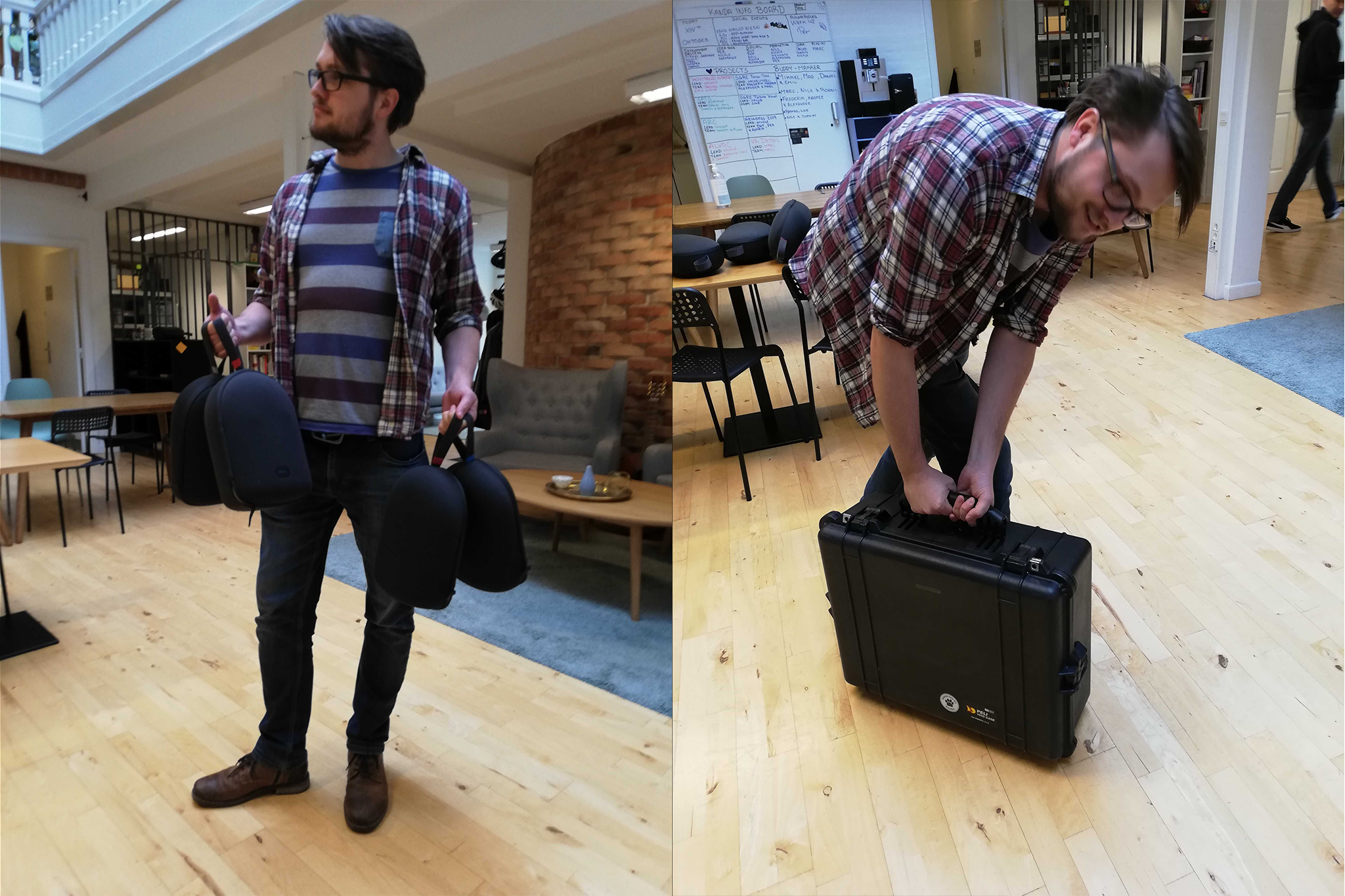 On the left, you can see how we at Kanda transport 4 x Oculus Quests in their travel casings when we go out to do technology demonstrations. On the right, you can see how we transport a single Oculus Rift S and an Alienware laptop.