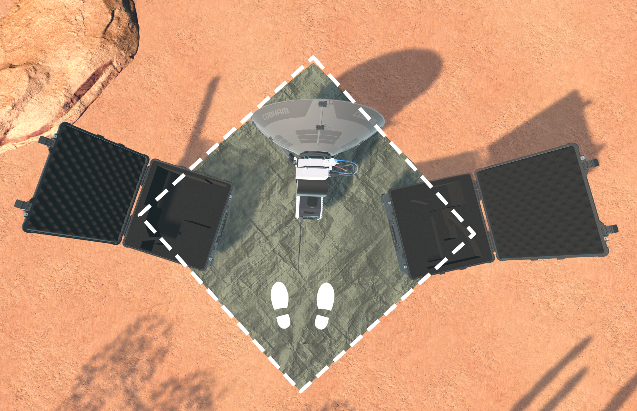 Top down view: Tarp helps mark play area (White markings are not visible in VR).