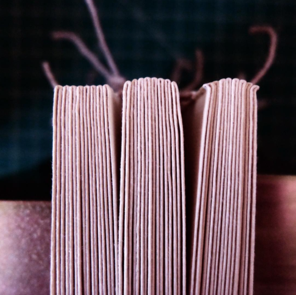 From left to right: glued up, rounded, and backed. The small grooves that result from backing are the joints that eventually receive the boards.