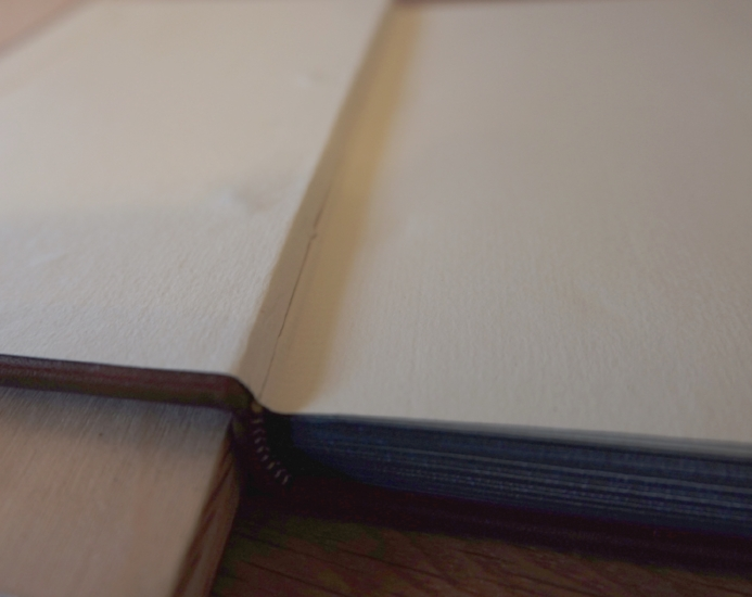 The outermost page is pasted and laid down over the inside of the cover.