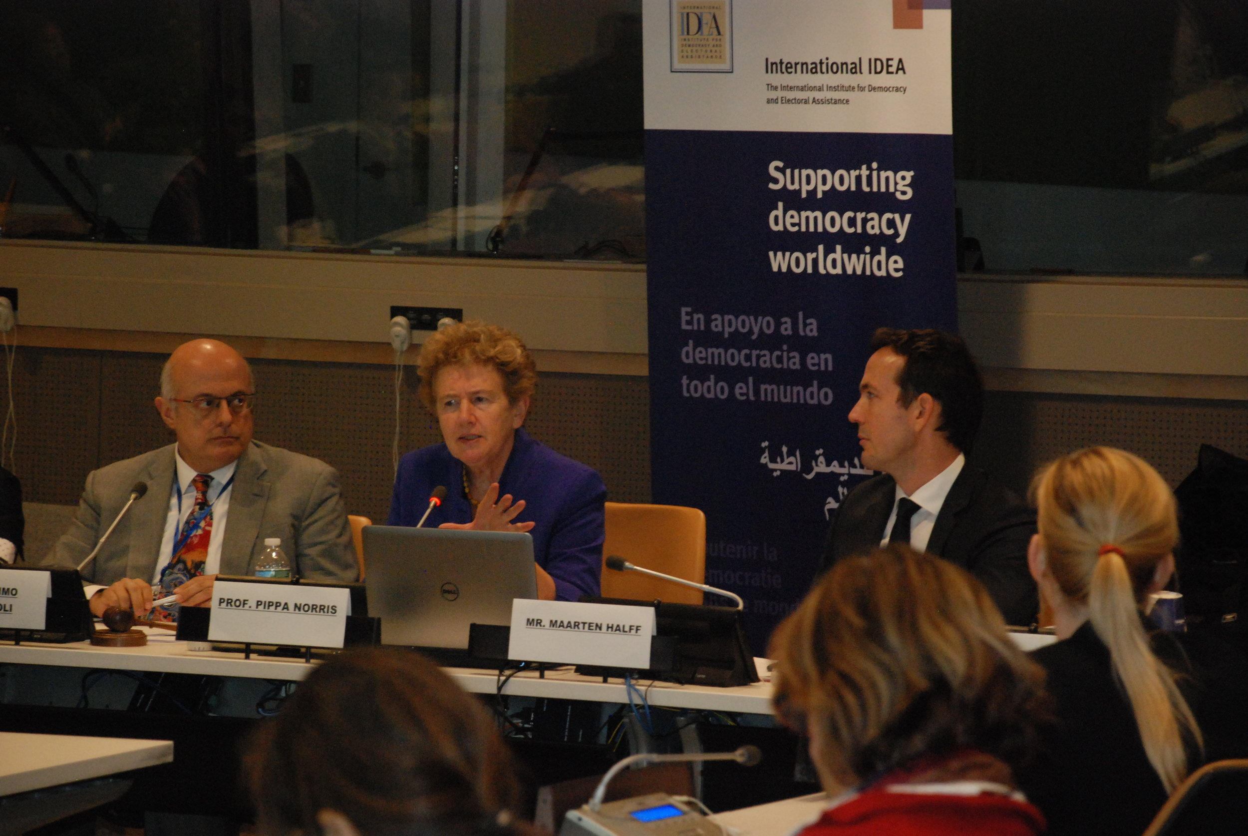 Pippa Norris with Massimo Tomassoni (International IDEA) and Maarten Halff (UN-EAD) speaking on electoral integrity at the United Nations, Nov 2016.