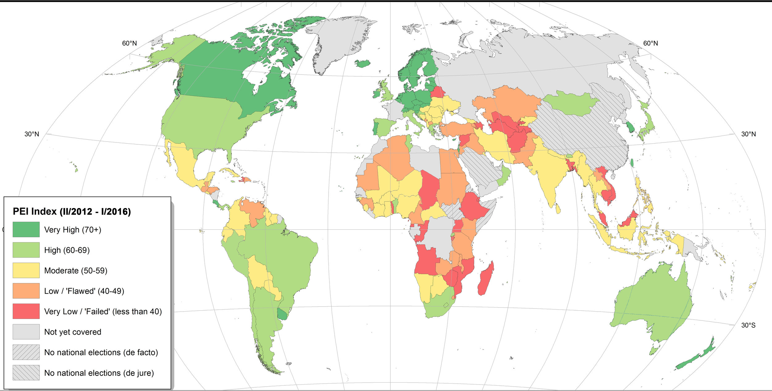 Global Map of Perceptions of Electoral Integrity (PEI 4.5)