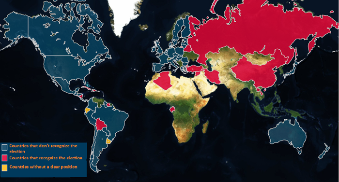 Source:  Prodavinci   Note: Until May 25, 73 countries had made statements about the presidential election: 25 recognize the Elections; 46 don't recognize the election, and 2 have not a clear position