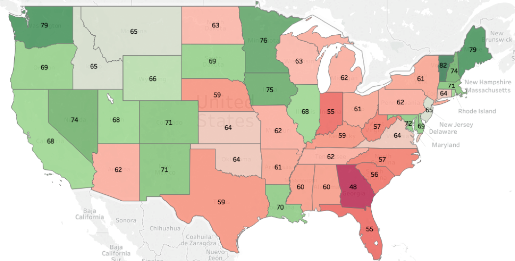 Note:  The map shows the mean for each state in the Perceptions of Electoral Integrity Index, with imputed values, and the scale ranging from 0-100.  Source:  The Electoral Integrity Project PEI-US 2018  www.electoralintegrityproject.com