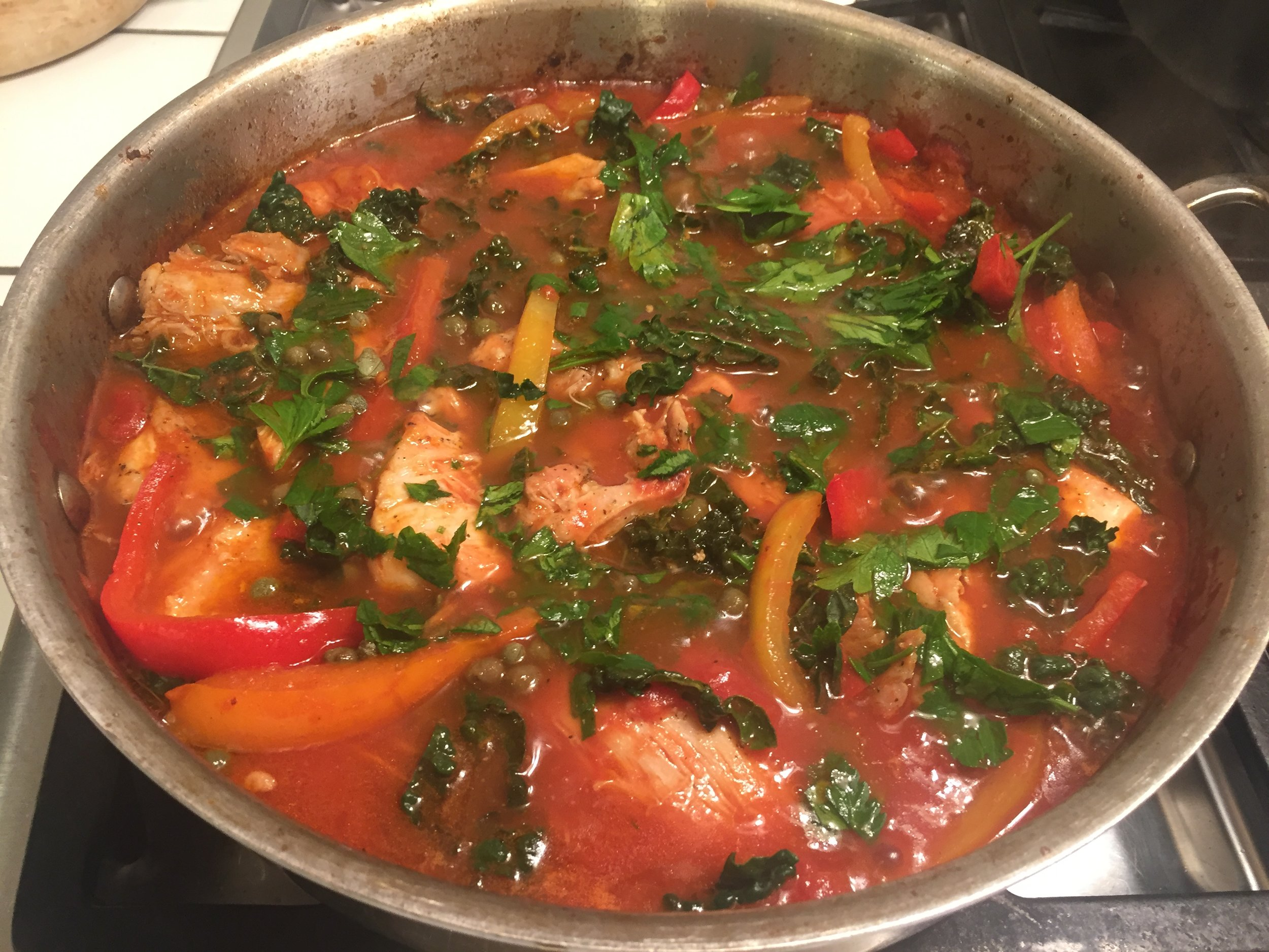 One of my favorite one pot meals, chock full of tomatoes!. I use a 28 ounce can of crushed tomatoes and 4 peppers (red, yellow and orange) in  Giada de Laurentis Roman Style Chicken .