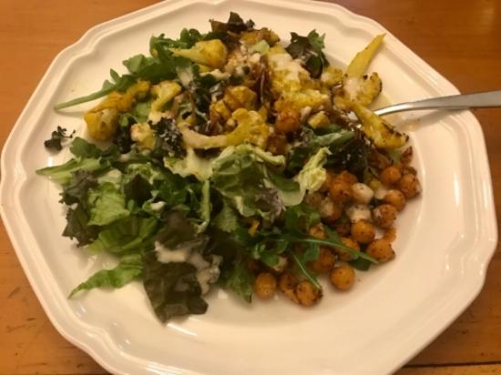 Roasted Cauliflower Salad with Lemon Tahini Dressing