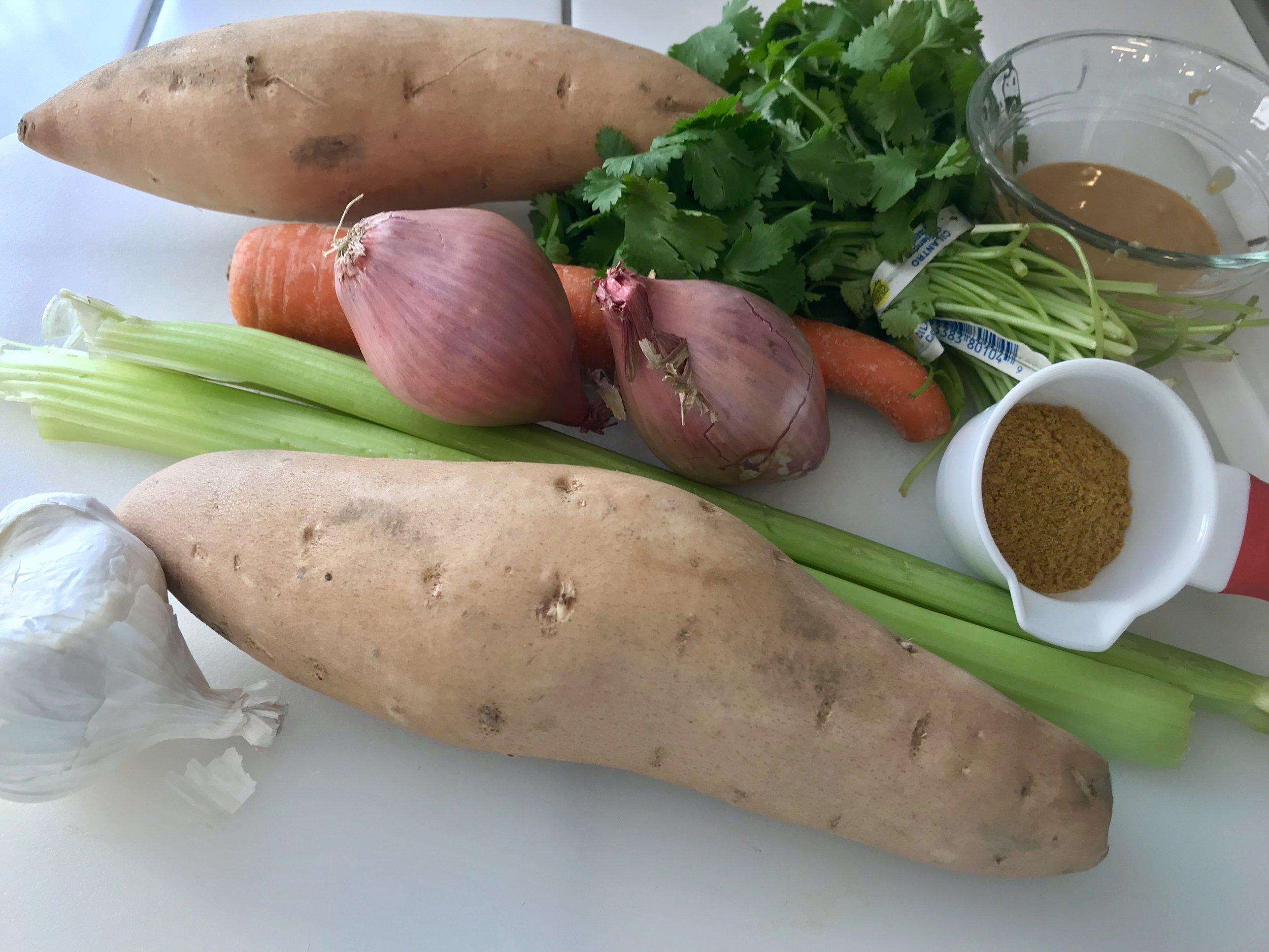 Above: Ingredients for  Sweet Potato Soup with Cashew Coconut Cream