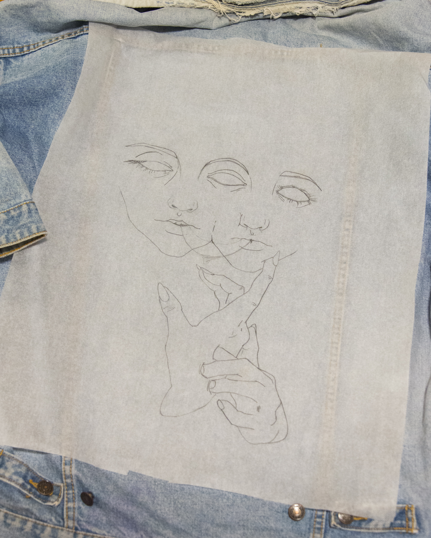 """Mira"" drawing in the process of being transferred onto jacket. © HANDFAST HOTEL 2018"