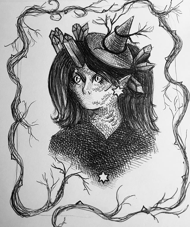 I never did a #drawthisinyourstyle challenge before but here it is! I had only a ballpoint pen, on a plane. No pencil! Thanks @qian_qian_95 . . . . . #illo #penandink #ballpointpen #qian_drawing  #sketchbook #airplanedrawing #nopencil #drawing #darkart #witch